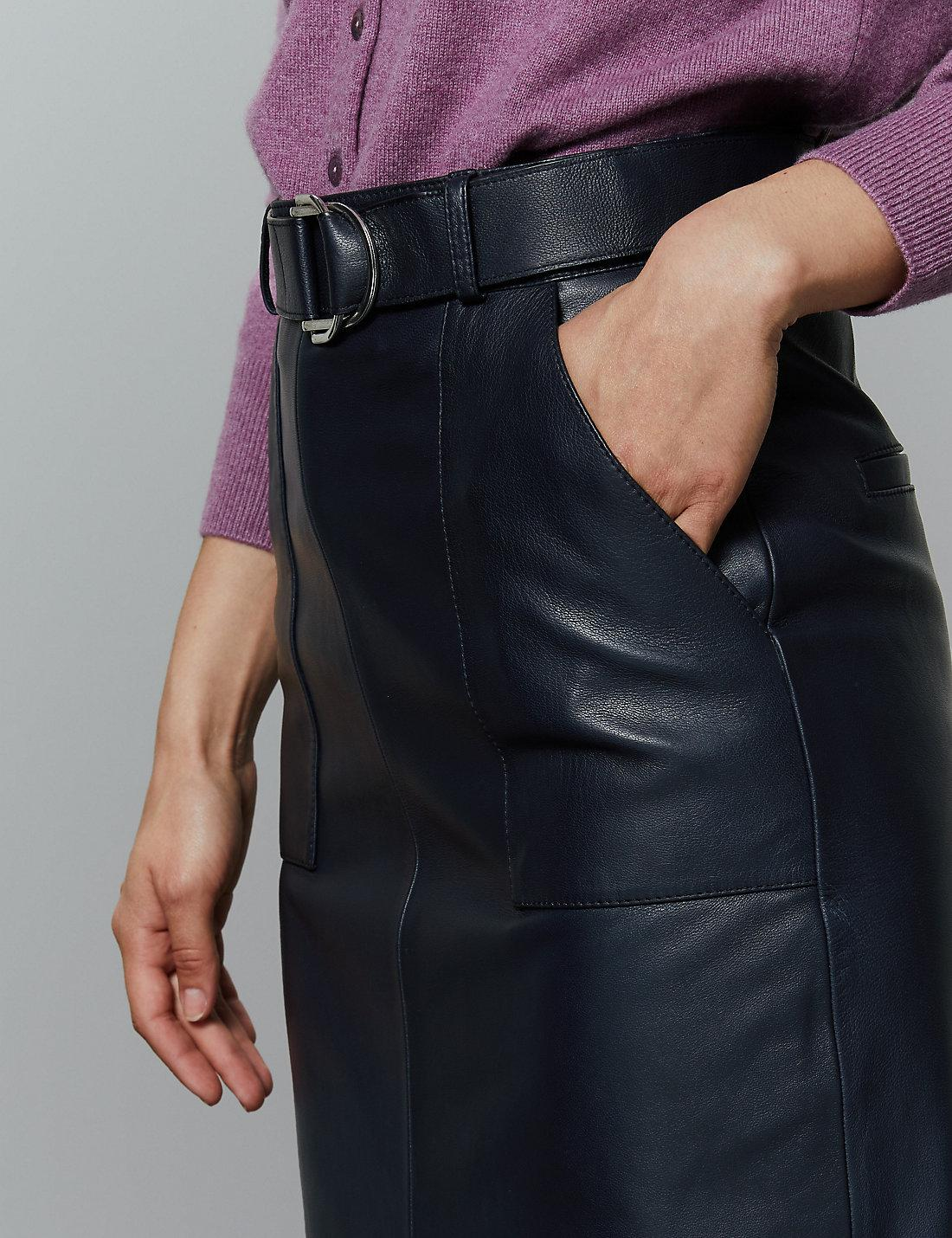 129ee43438 Marks & Spencer Leather Belted Pencil Skirt in Blue - Lyst