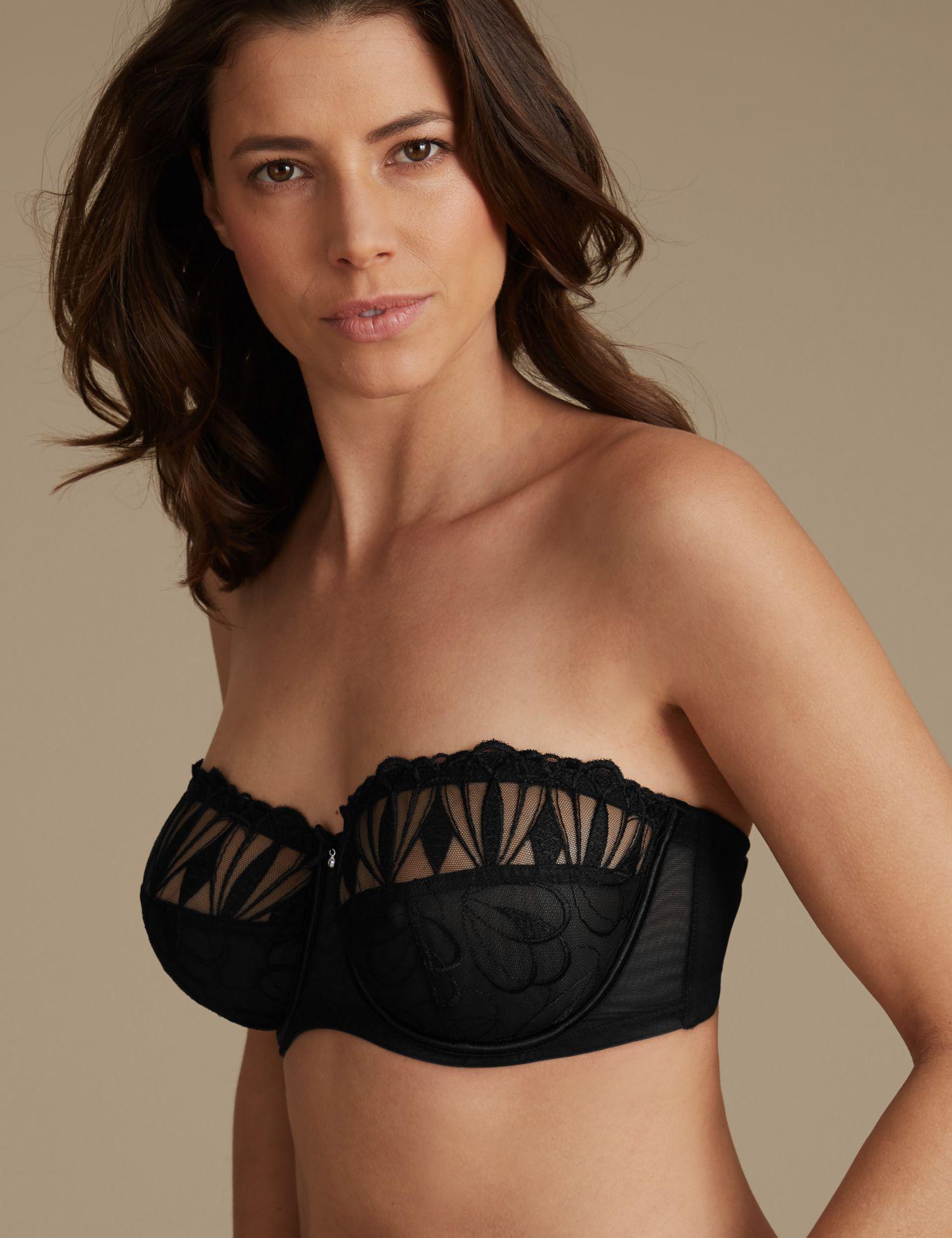 90e0827d62960 Marks spencer embroidered non padded strapless bra in black jpg 1500x1950 Padded  strapless bra