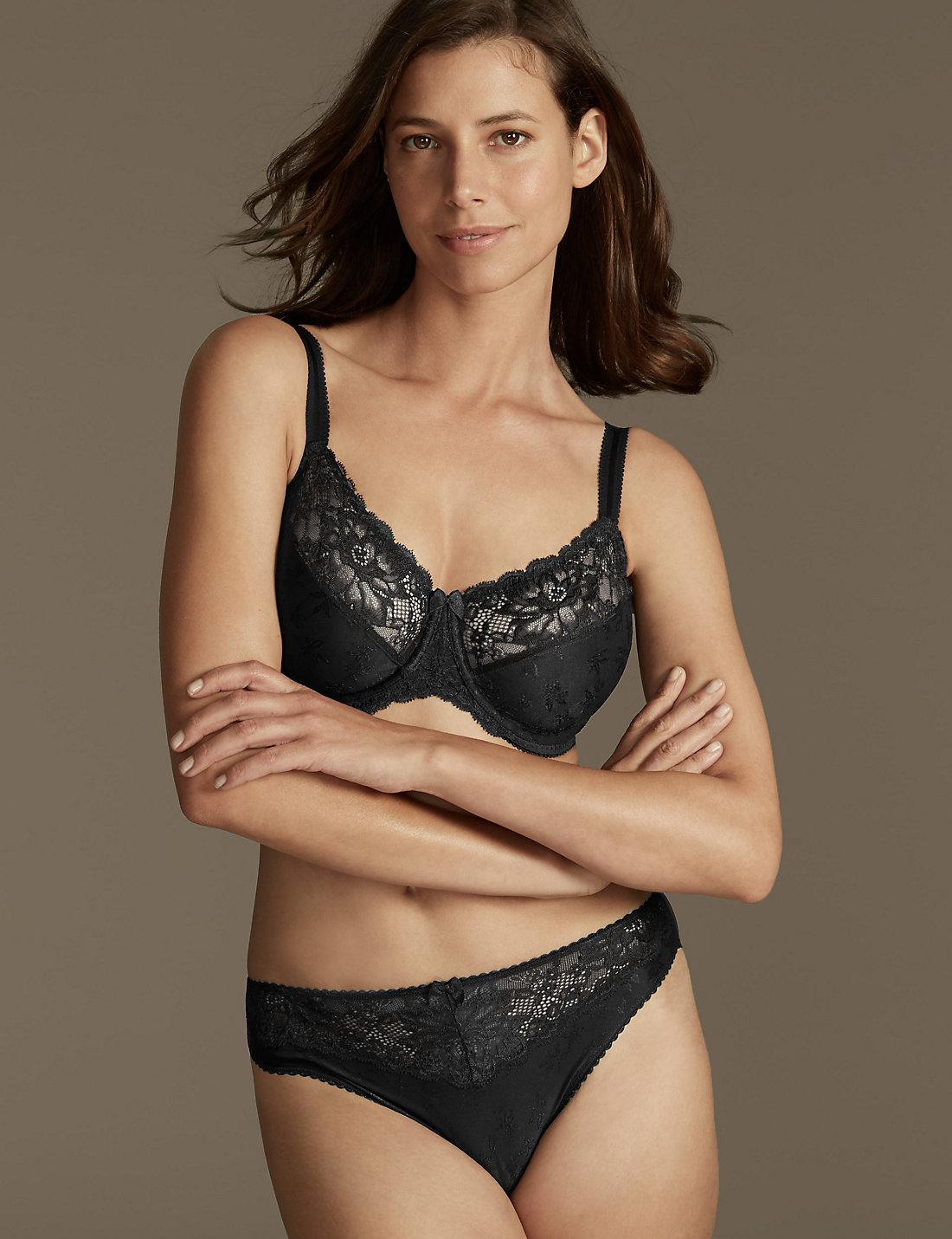 07a74810a1 Lyst - Marks   Spencer Floral Jacquard Lace Underwired Minimiser Bra ...