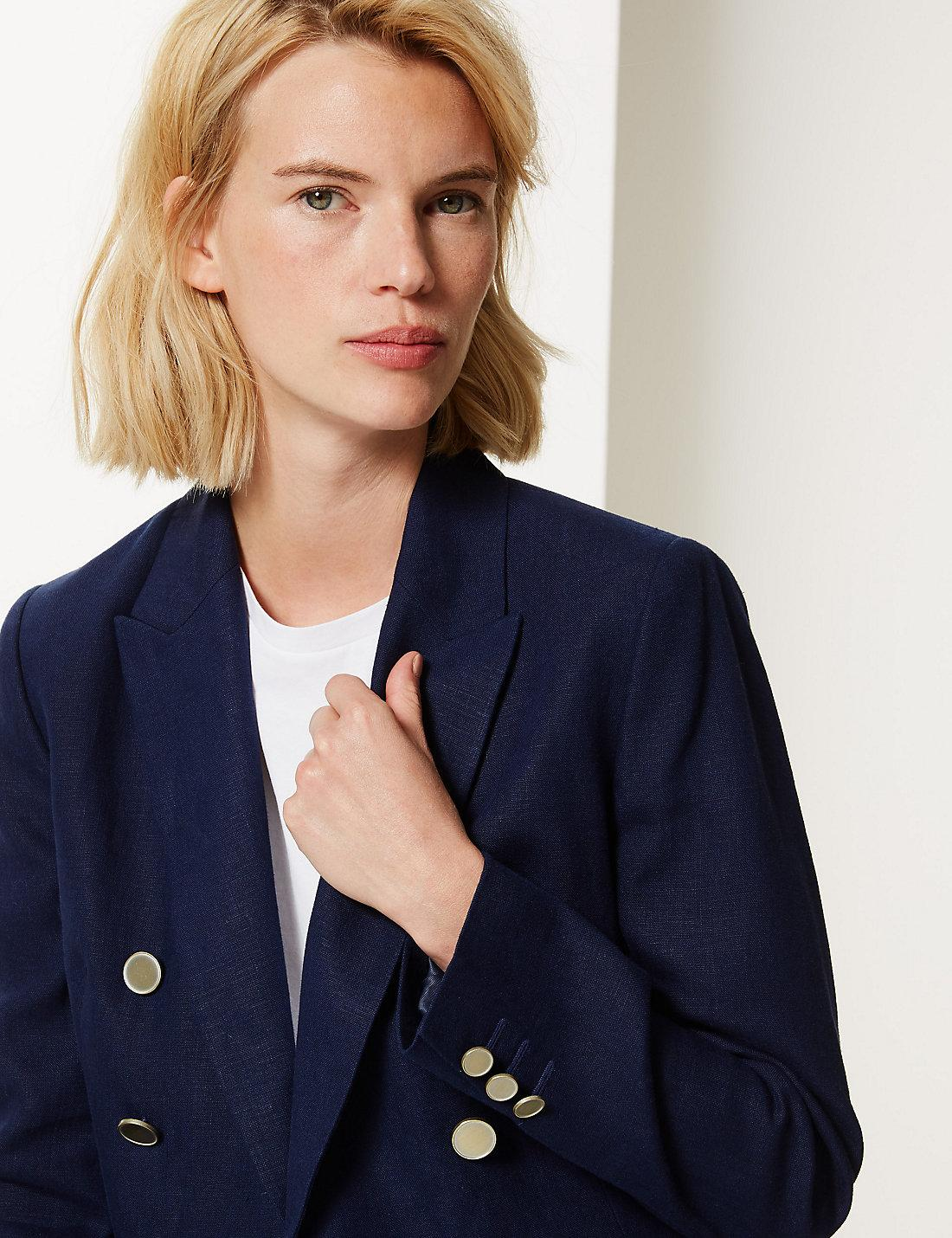 16284f061c0 Lyst - Marks   Spencer Pure Linen Double Breasted Blazer in Blue