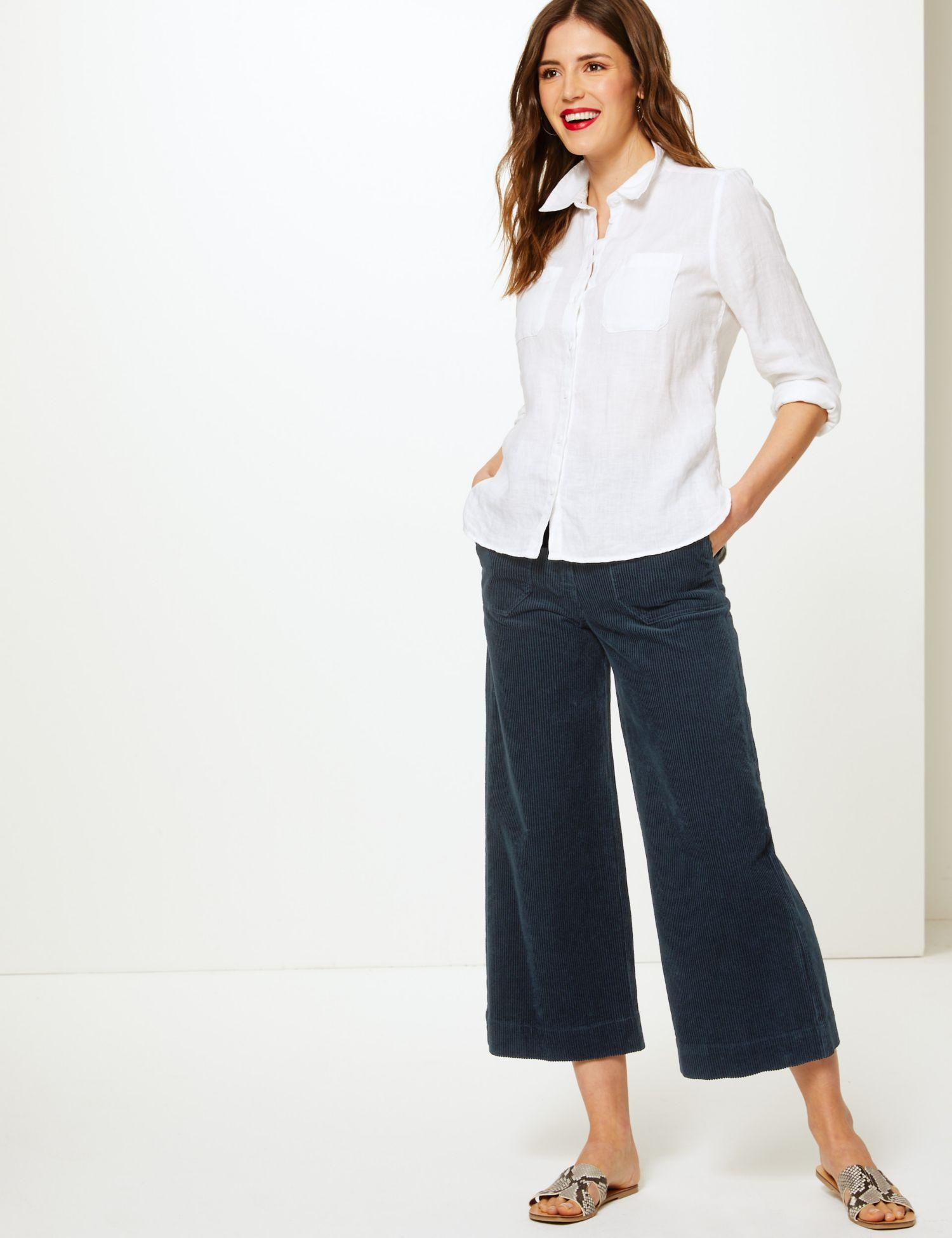 845085103a9e5 Marks   Spencer Pure Cotton Wide Leg Cropped Trousers in Blue - Lyst