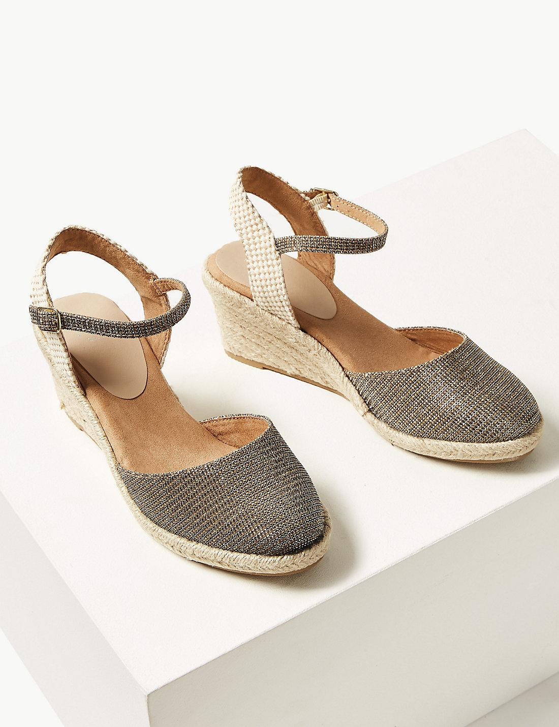 a50dd669124 Lyst - Marks   Spencer Wide Fit Wedge Heel Espadrilles in Metallic