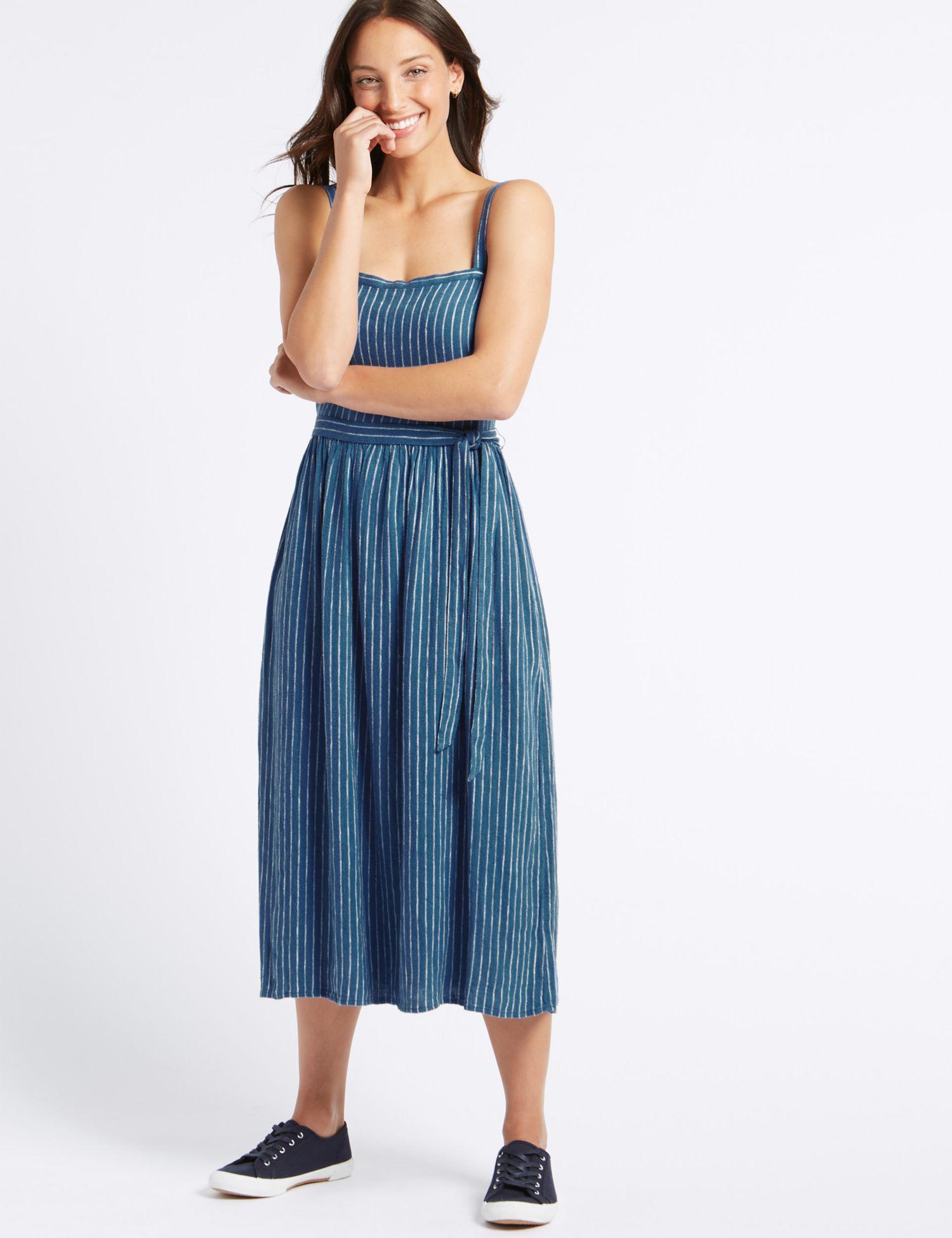 56139ed1ea Marks   Spencer Linen Blend Striped Skater Midi Dress in Blue - Lyst