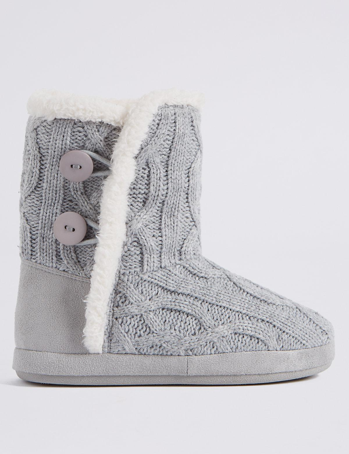Marks Spencer Cable Knit Slipper Boots In Gray Lyst