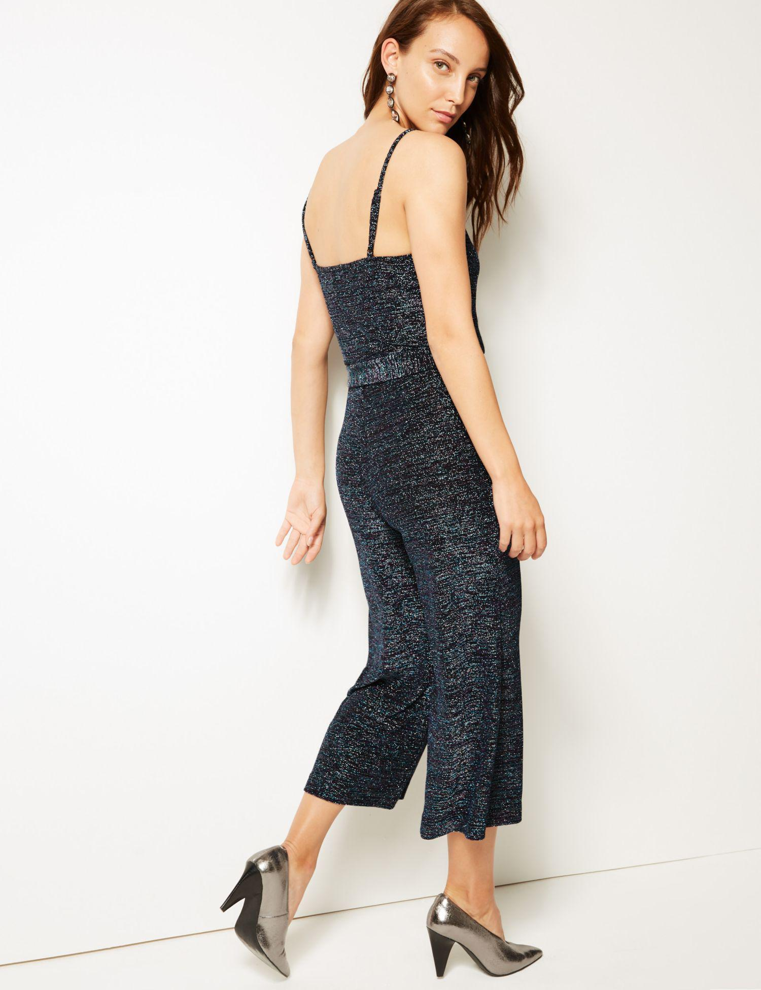 7968488c524 Marks   Spencer Sparkly Cropped Jumpsuit in Blue - Lyst