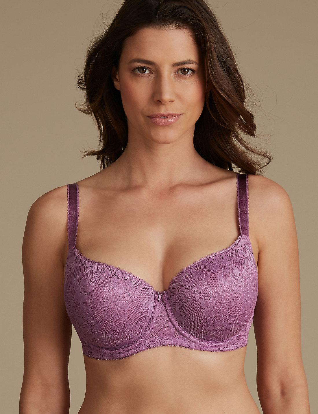 Womens Joanna Hope Printed Embroidery Underwired Non Padded Full Cup Bra JD