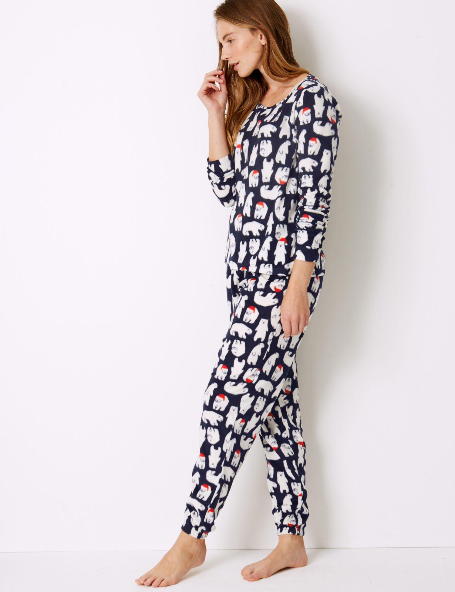 7ff913835e Marks   Spencer Fleece Polar Bear Print Pyjama Set in Blue - Lyst