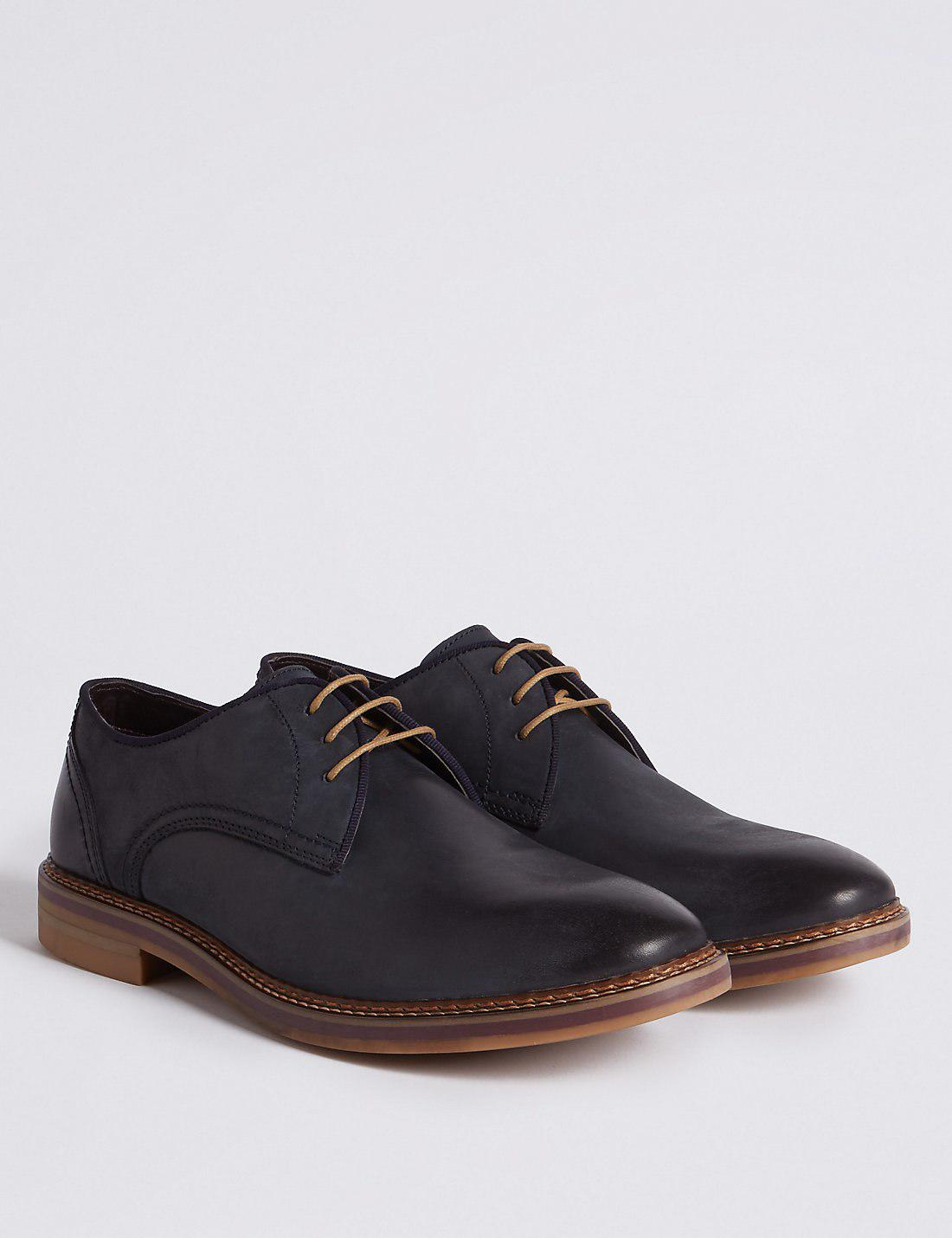 Marks Amp Spencer Suede Lace Up Gibson Shoes In Blue For Men