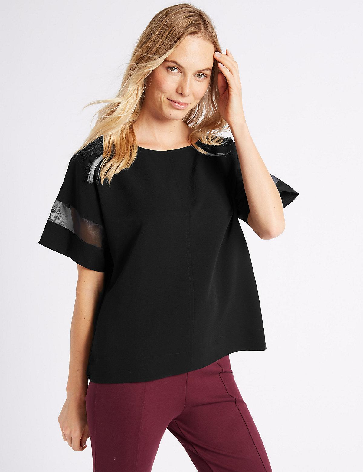 Brand New Unisex Cheap Online Prices Cheap Online Marks & Spencer Round Neck Half Sleeve Kimono Shell Top - - 6 Latest Discount Cheap Sale Ebay Discount From China JvSVN