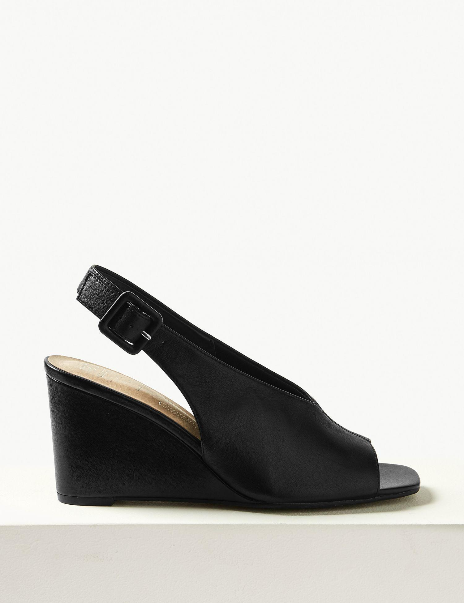 d43f489aa8c Marks & Spencer Leather Wedge Heel Slingback Sandals in Black - Lyst