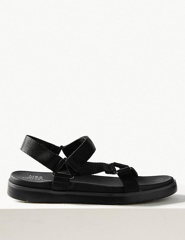 2b157b1b547 Lyst - Marks   Spencer Flatform Velcro Two Band Sandals in Black