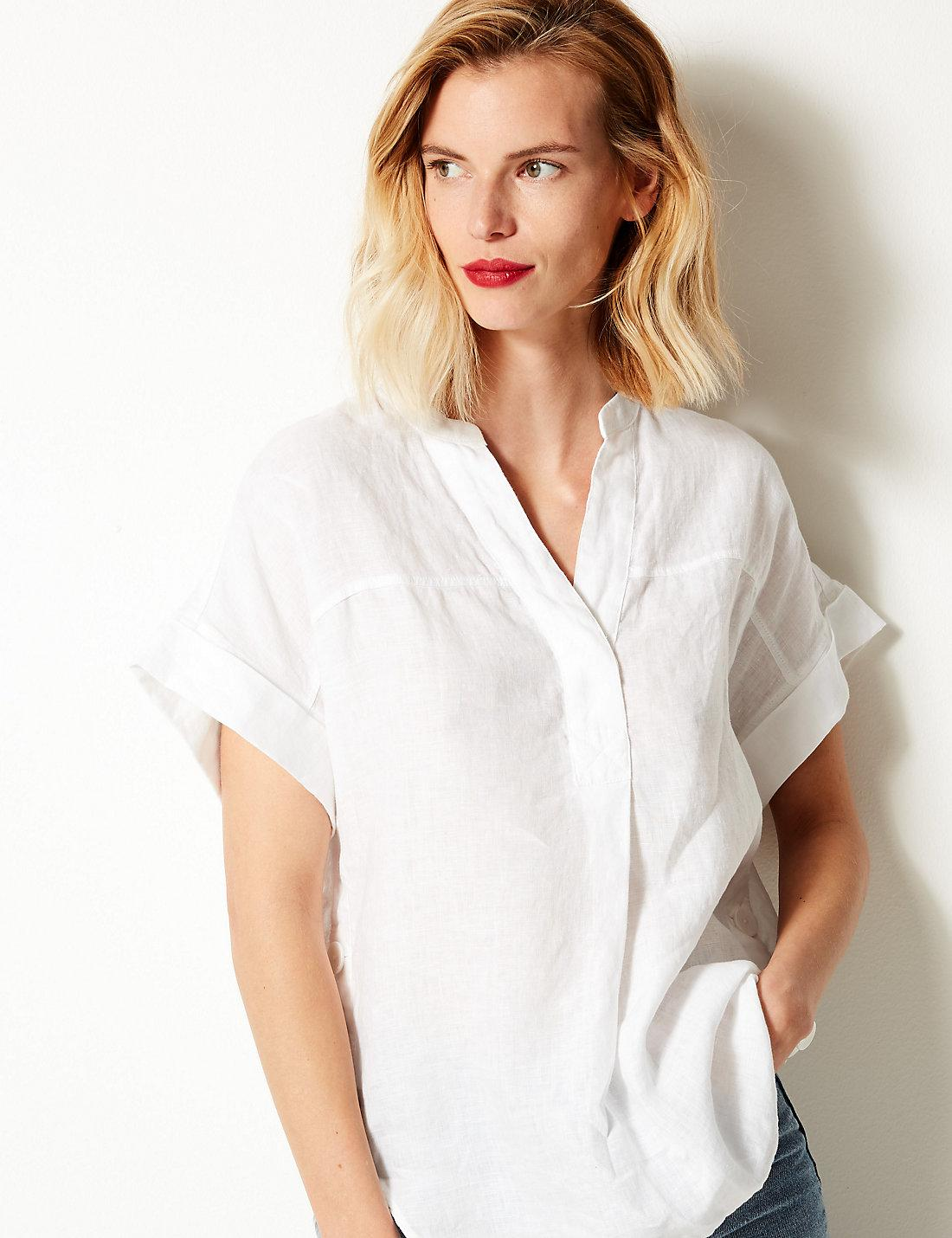 47df5f3c887 Lyst - Marks   Spencer Pure Linen Short Sleeve Shirt in White