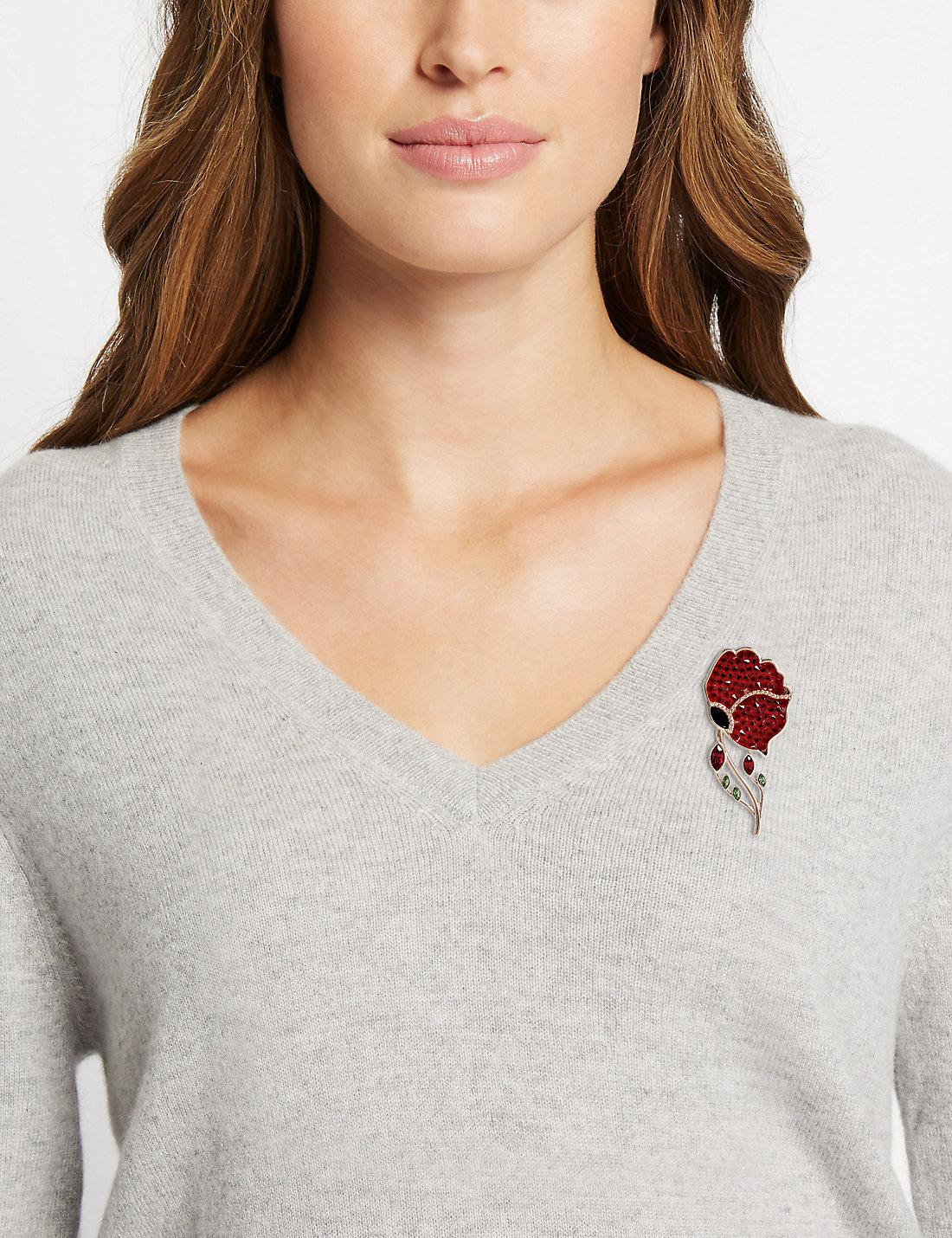 Marks & Spencer The Poppy Collection® Poppy Brooch With Swarovski