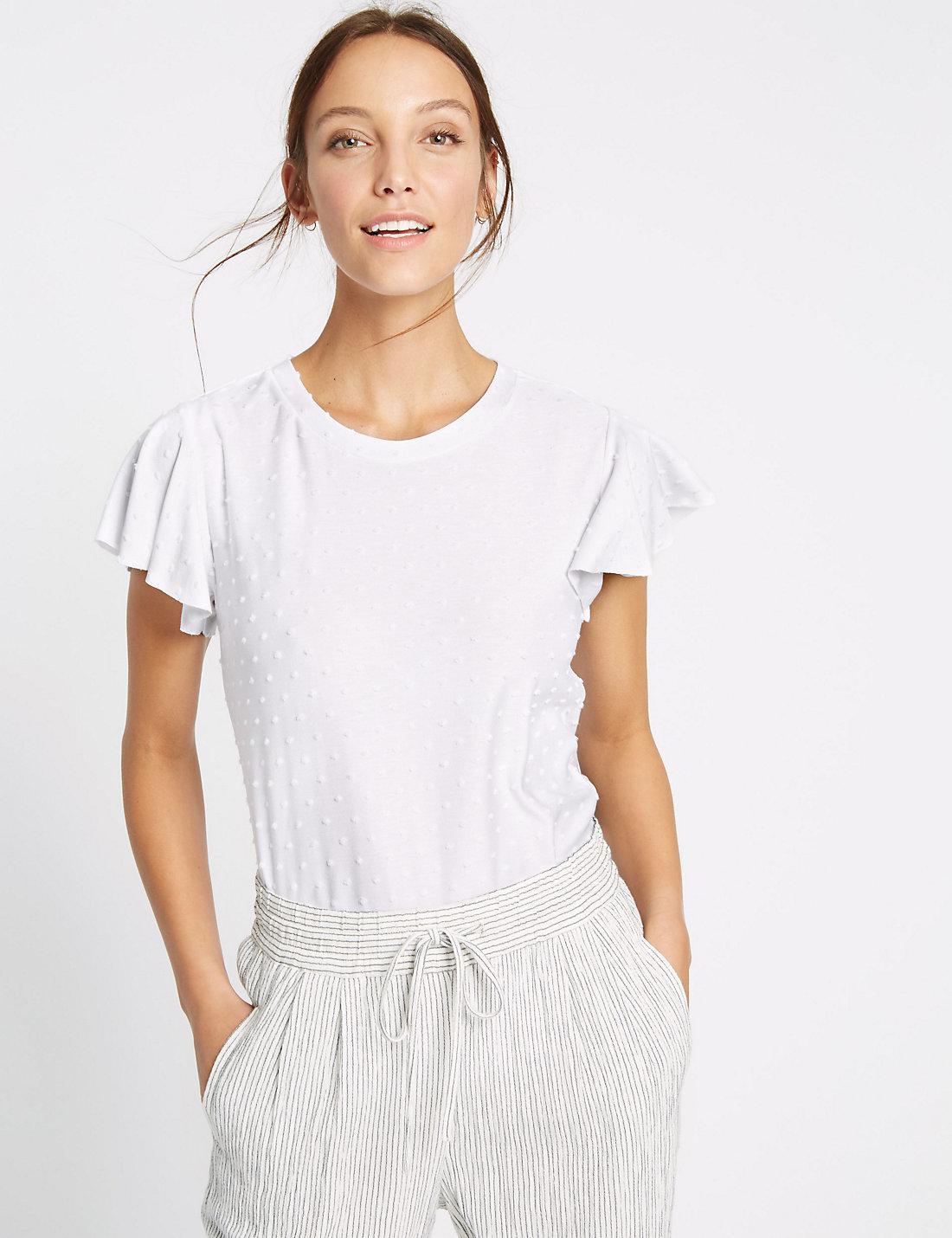 f517c3ef9914 Marks & Spencer Spotty Frill Short Sleeve T-shirt in White - Lyst