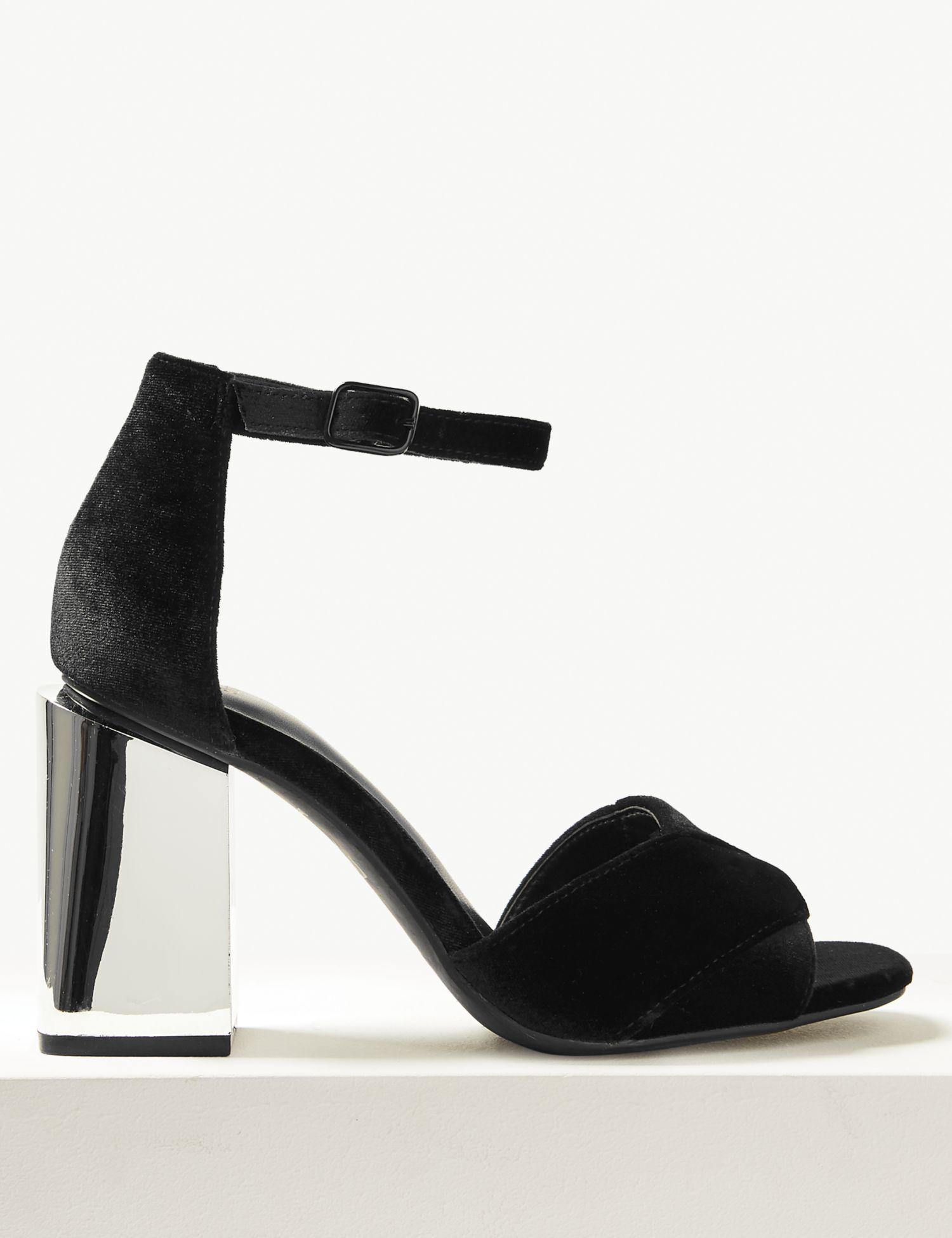 c1359e1ed93 Marks   Spencer Wide Fit Statement Heel Ankle Strap Sandals in Black ...