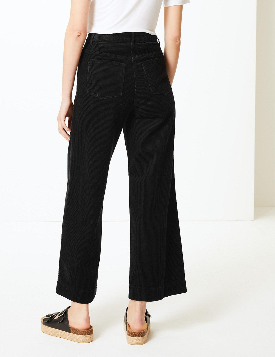 c43d561784531 Lyst - Marks   Spencer Pure Cotton Wide Leg Ankle Grazer Trousers in Black