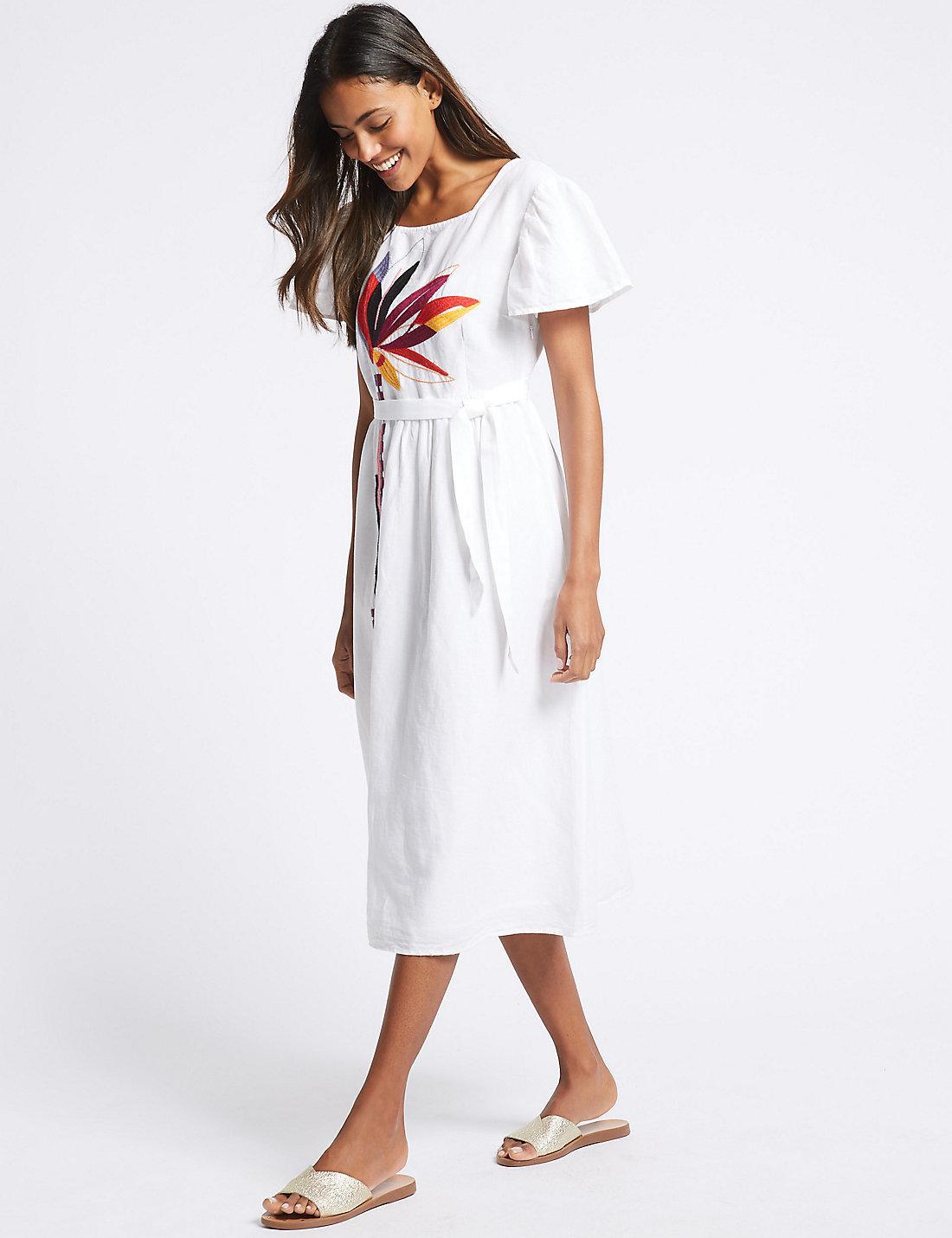 f3d0b23d61 Marks   Spencer Linen Rich Embroidered Skater Midi Dress in White - Lyst