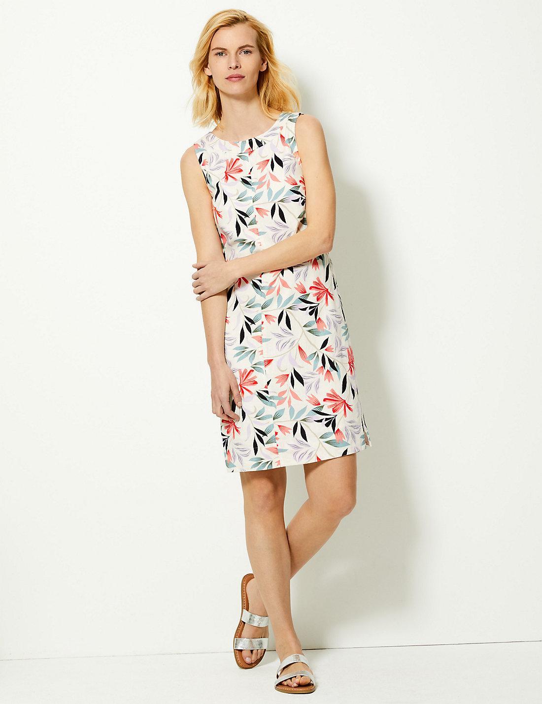 7c1eff9969 Lyst - Marks & Spencer Leaf Print Shift Dress in White