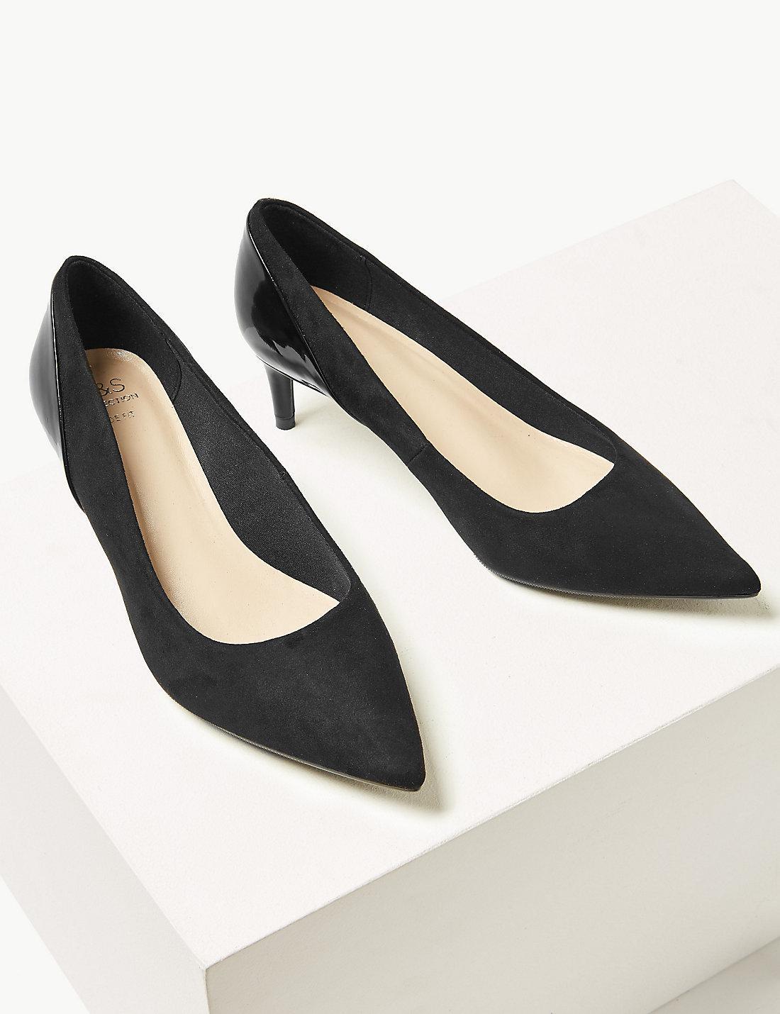 3e0c170adef Marks & Spencer Black Wide Fit Kitten Heel Court Shoes