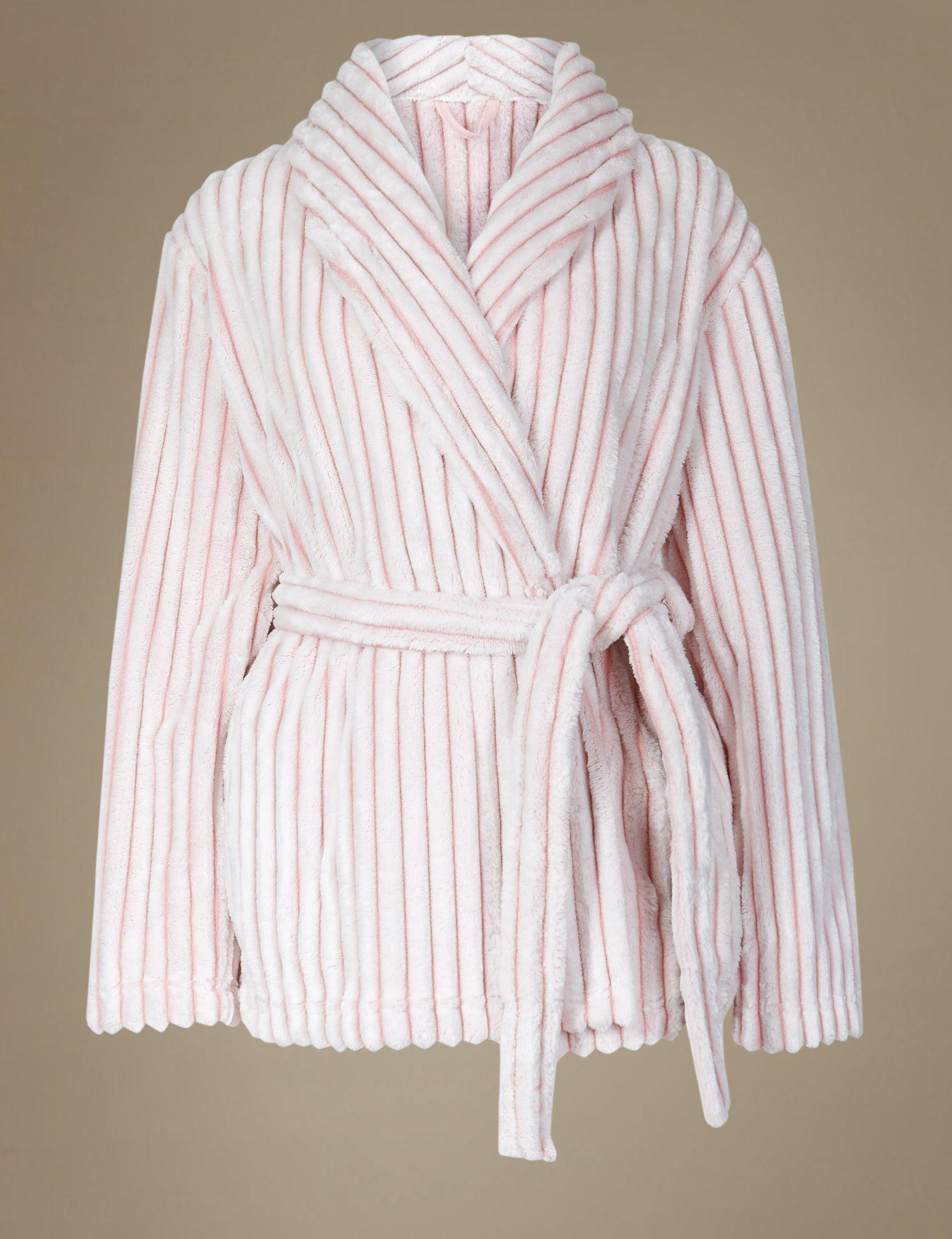 Marks & Spencer Supersoft Textured Short Dressing Gown in Pink - Lyst