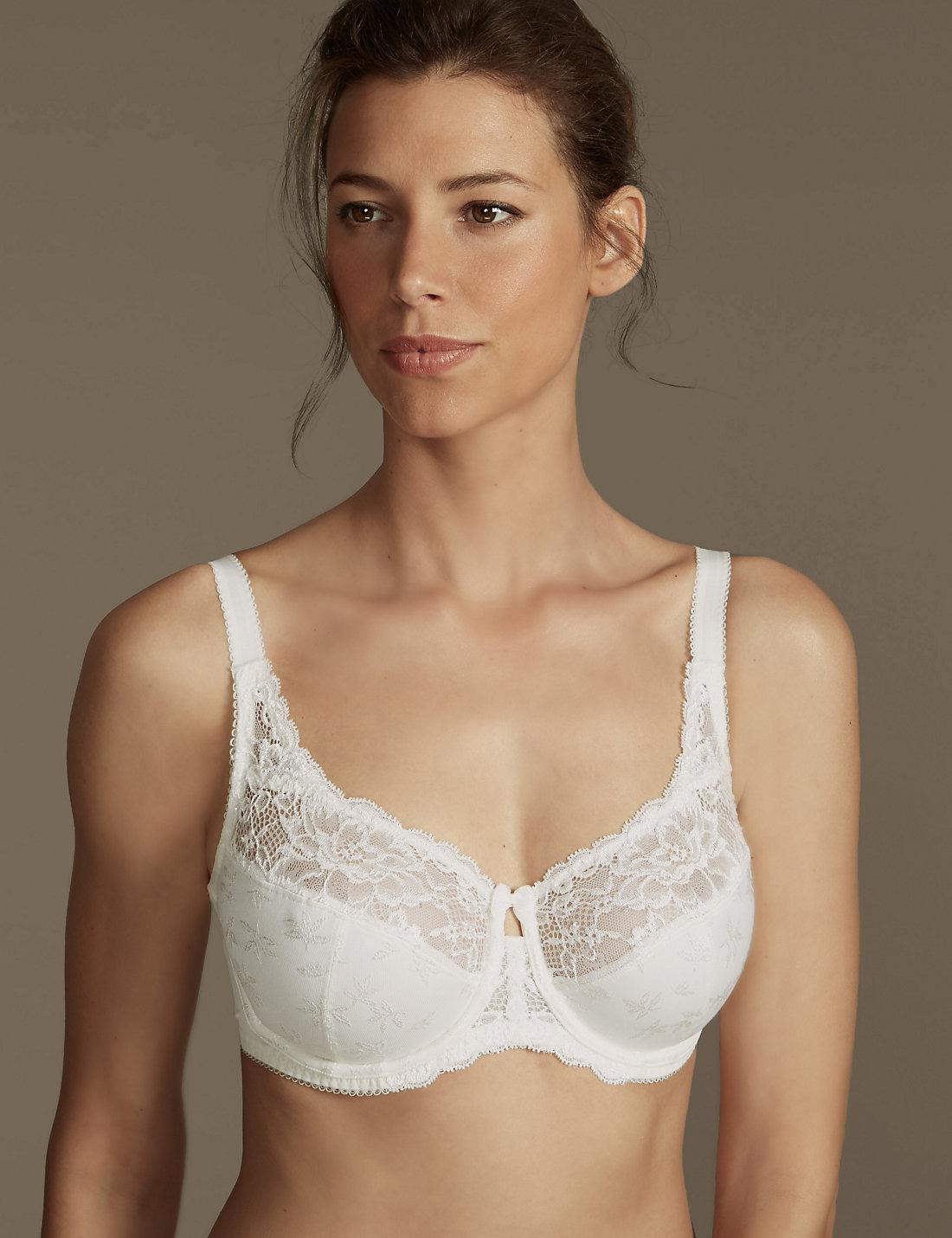 3b3742b1b0b3a Lyst - Marks   Spencer Floral Jacquard Lace Underwired Full Cup Bra ...