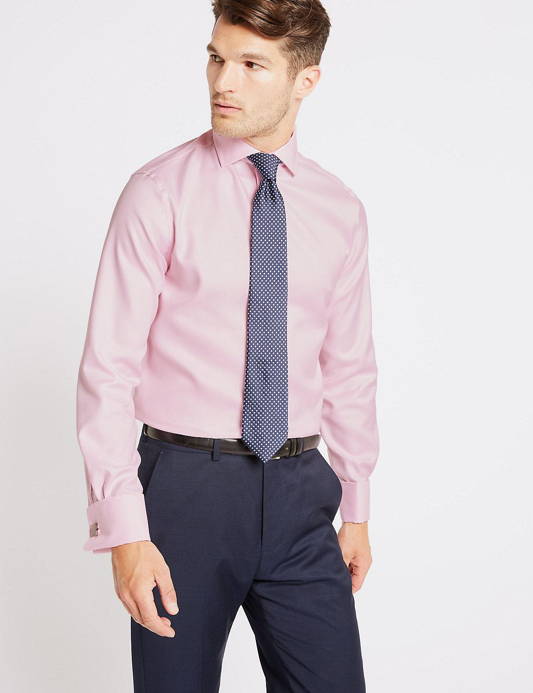 Lyst Marks Spencer Pure Cotton Twill Slim Fit Shirt In Pink For Men