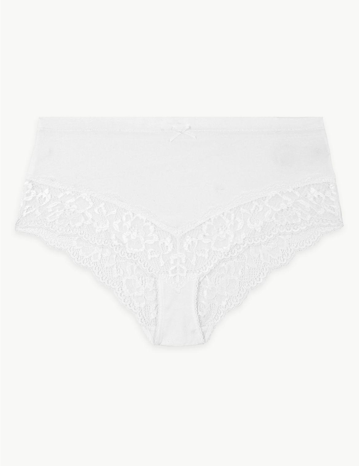 M /& S COLLECTION BLACK//WHITE 5 PACK GEOMETRIC LACE HIGH WAIST BRAZILIAN KNICKERS