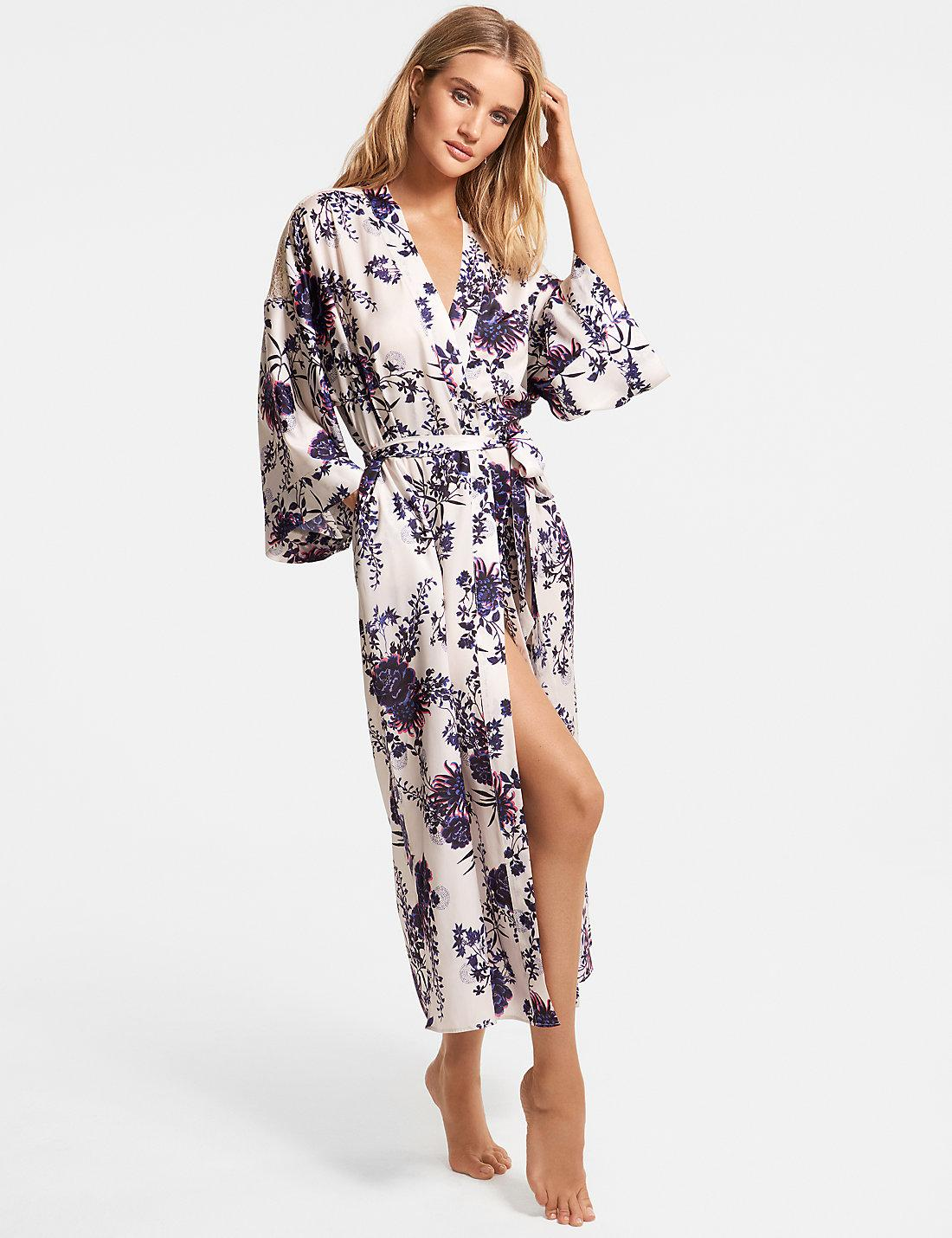 Lyst - Marks   Spencer Satin Floral Print Wrap Dressing Gown 9eb36439b