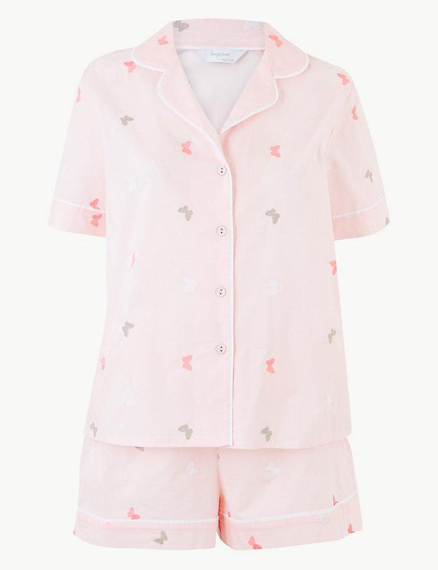 bde8f750ac0 Lyst - Marks   Spencer Pure Cotton Butterfly Short Pyjama Set in Pink