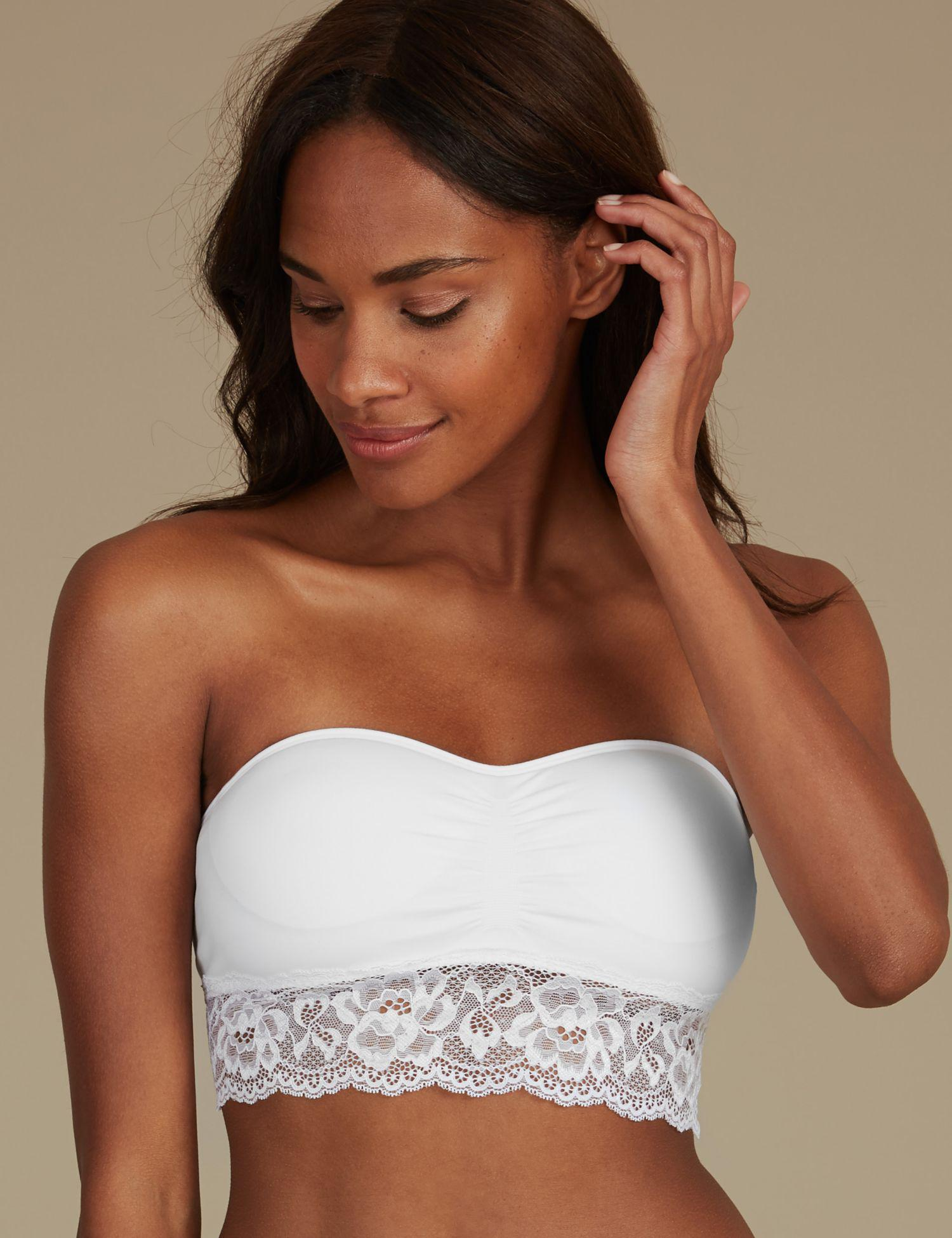 eb56910db41ce Marks   Spencer Lace Bandeau Strapless Bra in White - Lyst