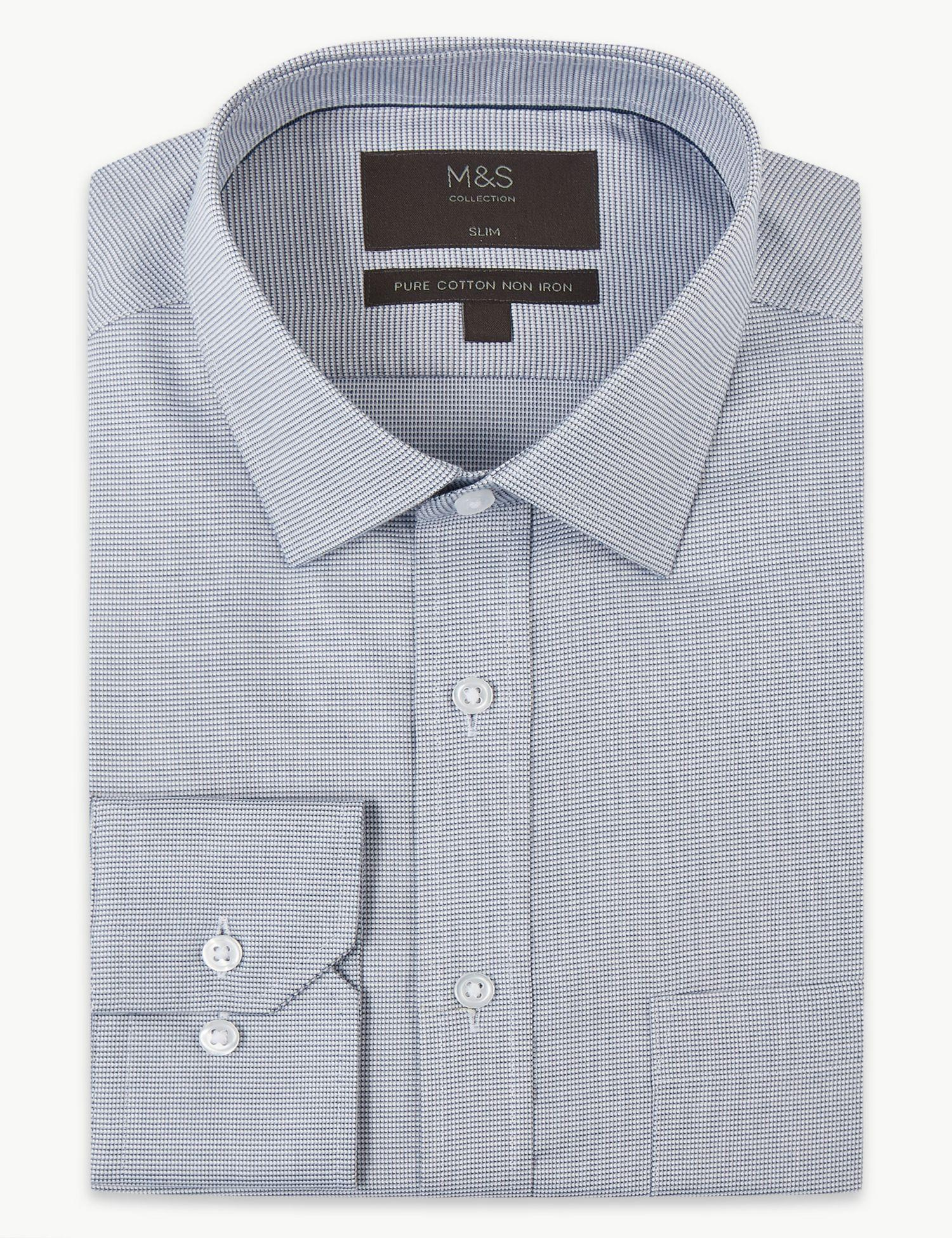 a96bd3c750d3 Marks & Spencer Pure Cotton Slim Fit Non-iron Shirt in Gray for Men ...