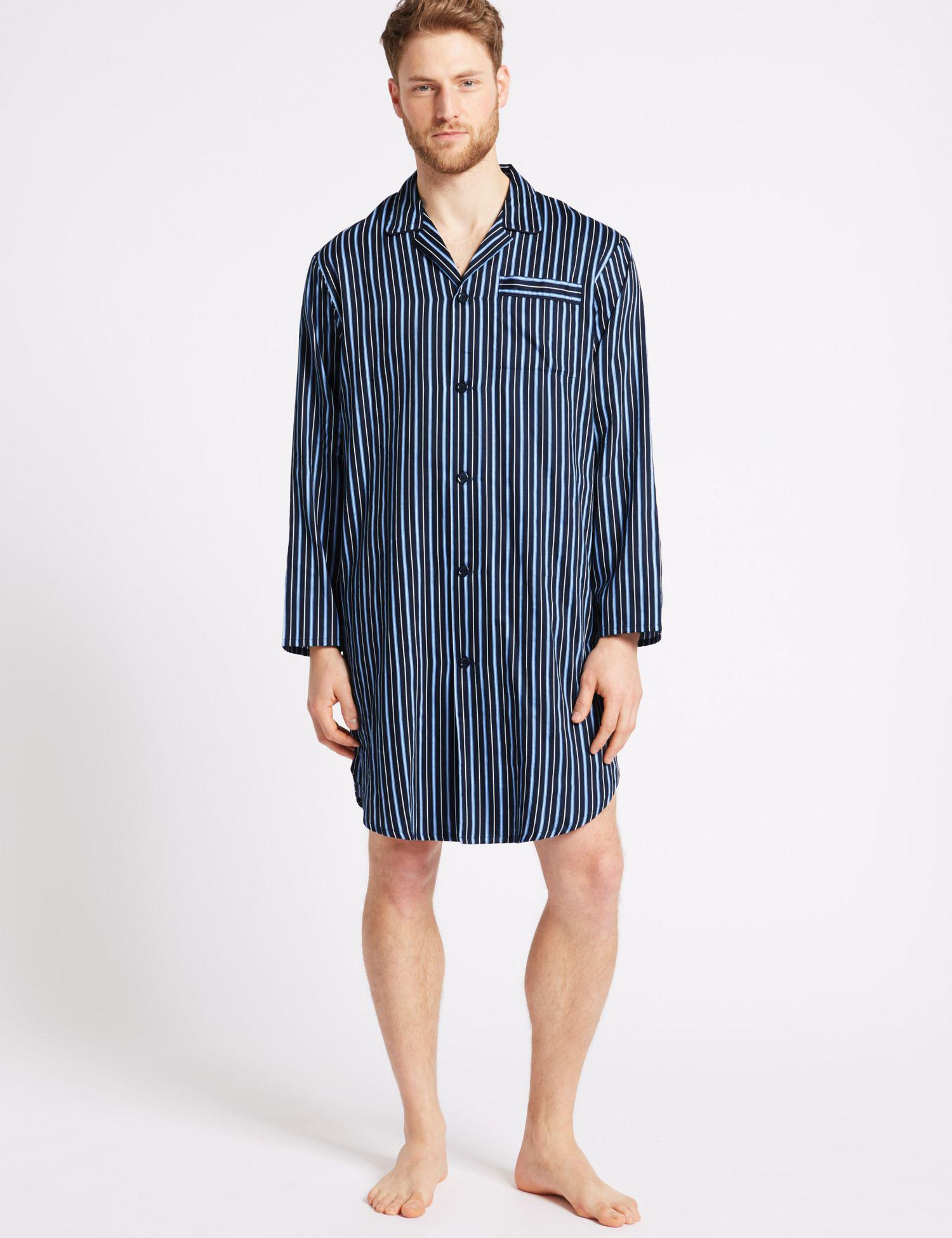 bb8b4ab06d Marks   Spencer Pure Cotton Striped Nightshirt in Blue for Men - Lyst