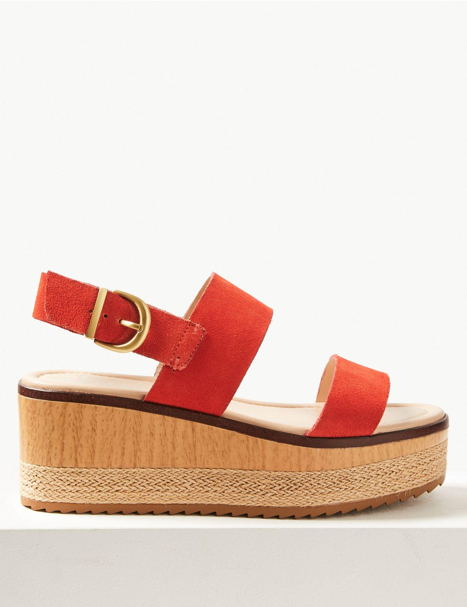 1d8f8dc70f7 Marks   Spencer Wide Fit Suede Two Band Sandals in Red - Lyst