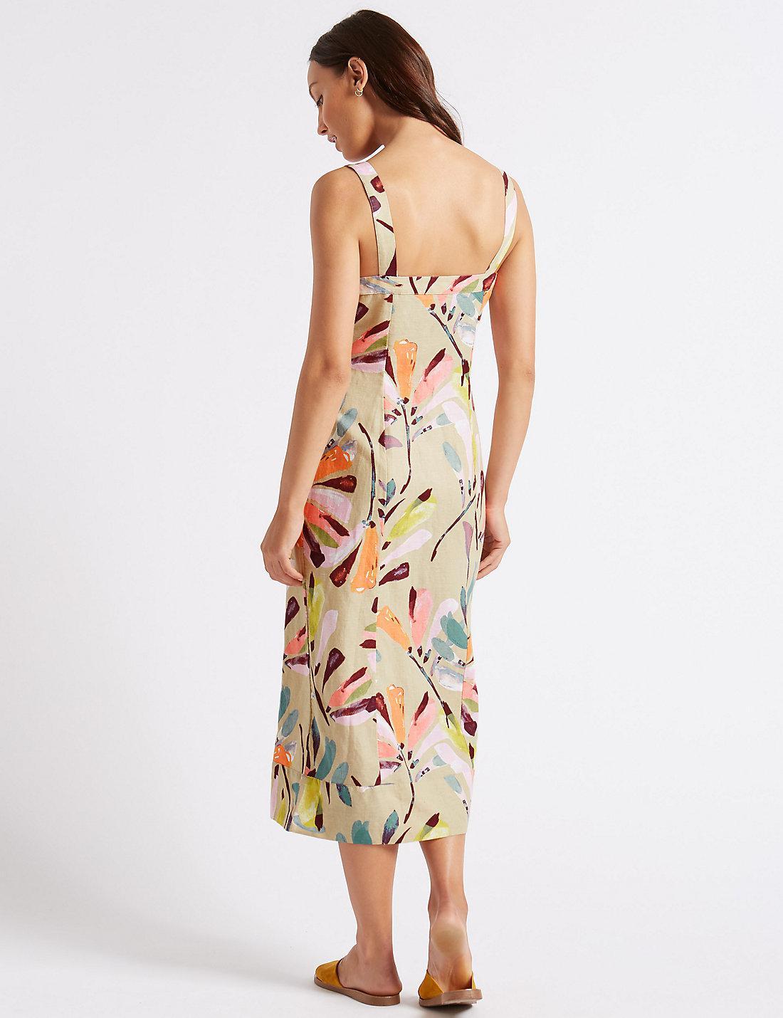 1232fef72c Marks   Spencer Linen Rich Daisy Print A-line Midi Dress - Lyst