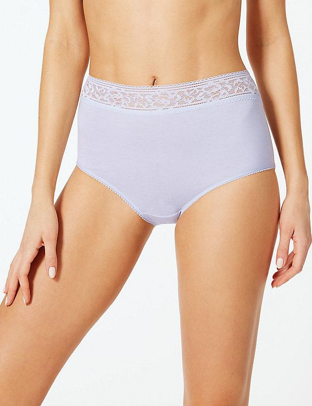 4b5f91f45550 Lyst - Marks & Spencer 5 Pack Louisa Lace Cotton Rich Full Briefs in Pink