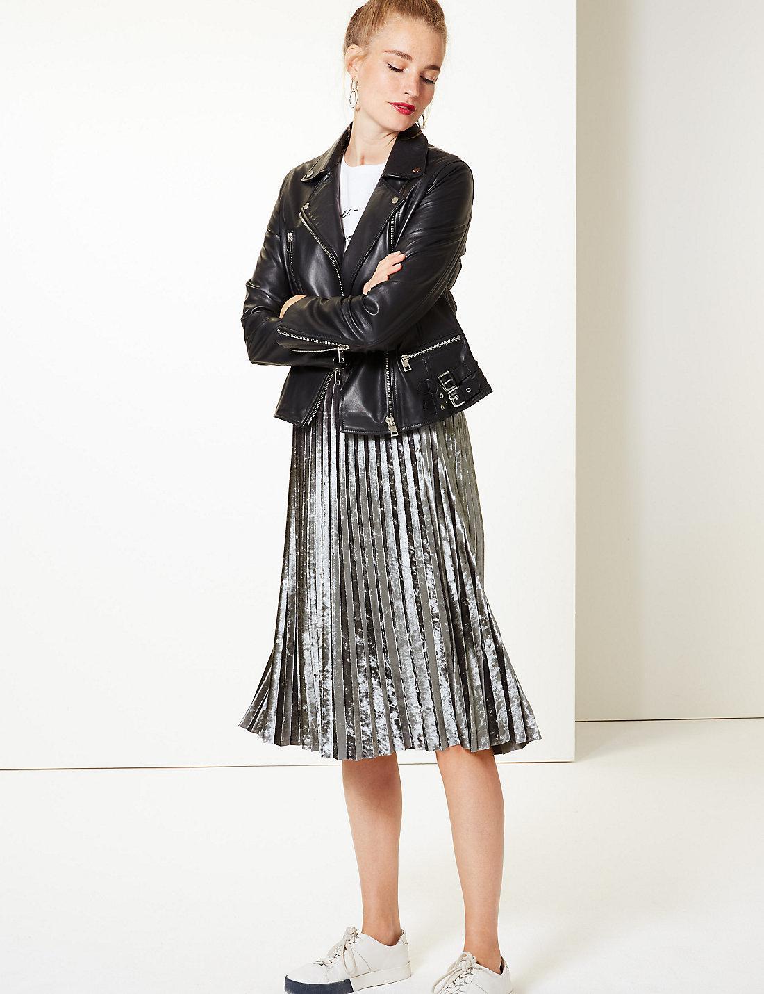 Marks Spencer Velvet Pleated Midi Skirt In Silver Metallic Lyst