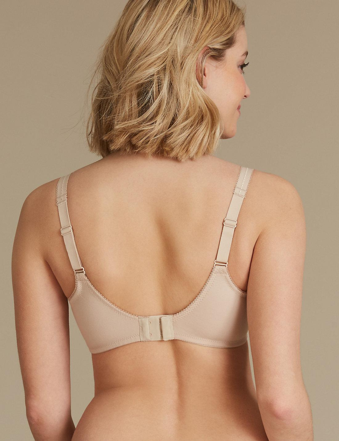 M /& S UNDERWIRED FULL CUP DAISY LACE BRA COTTON RICH BLACK  MARKS /& SPENCER