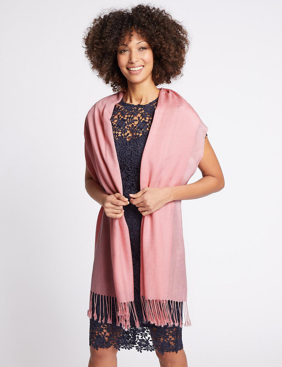 c70d7435b Lyst - Marks & Spencer Modal Rich Pashminetta Scarf in Pink