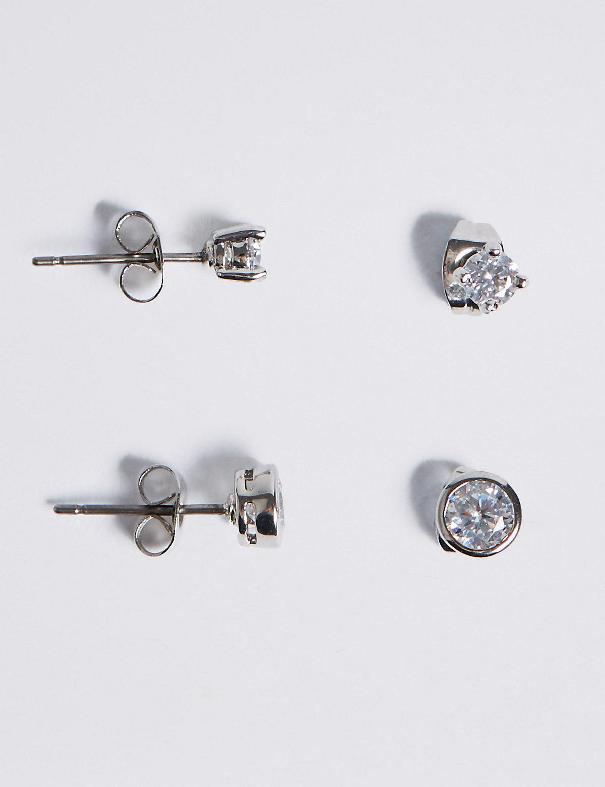 Marks and Spencer Platinum Plated Diamanté Stud Earrings Set silver JncH6