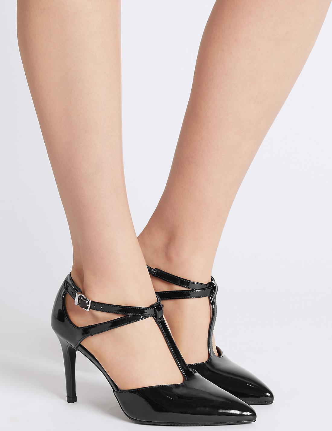 82076490555 Marks & Spencer Black Stiletto Heel T-bar Courts Shoes