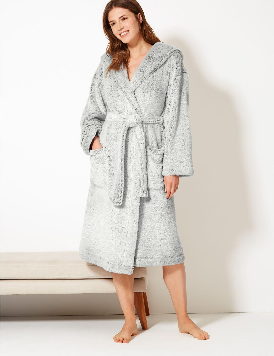 Ex M/&S Mens Hooded Dressing Gown Navy Grey Sizes 2-2XL NSP £29.95