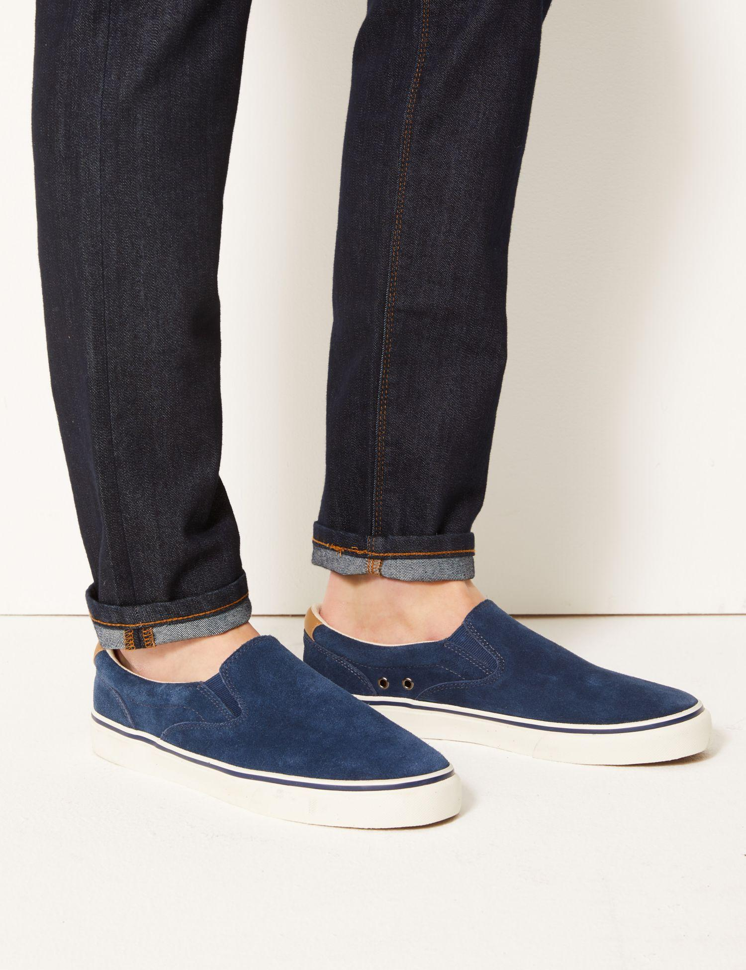 59b8a842bcd Marks   Spencer Wide Fit Suede Pump Shoes With Freshfeettm in Blue for Men  - Lyst