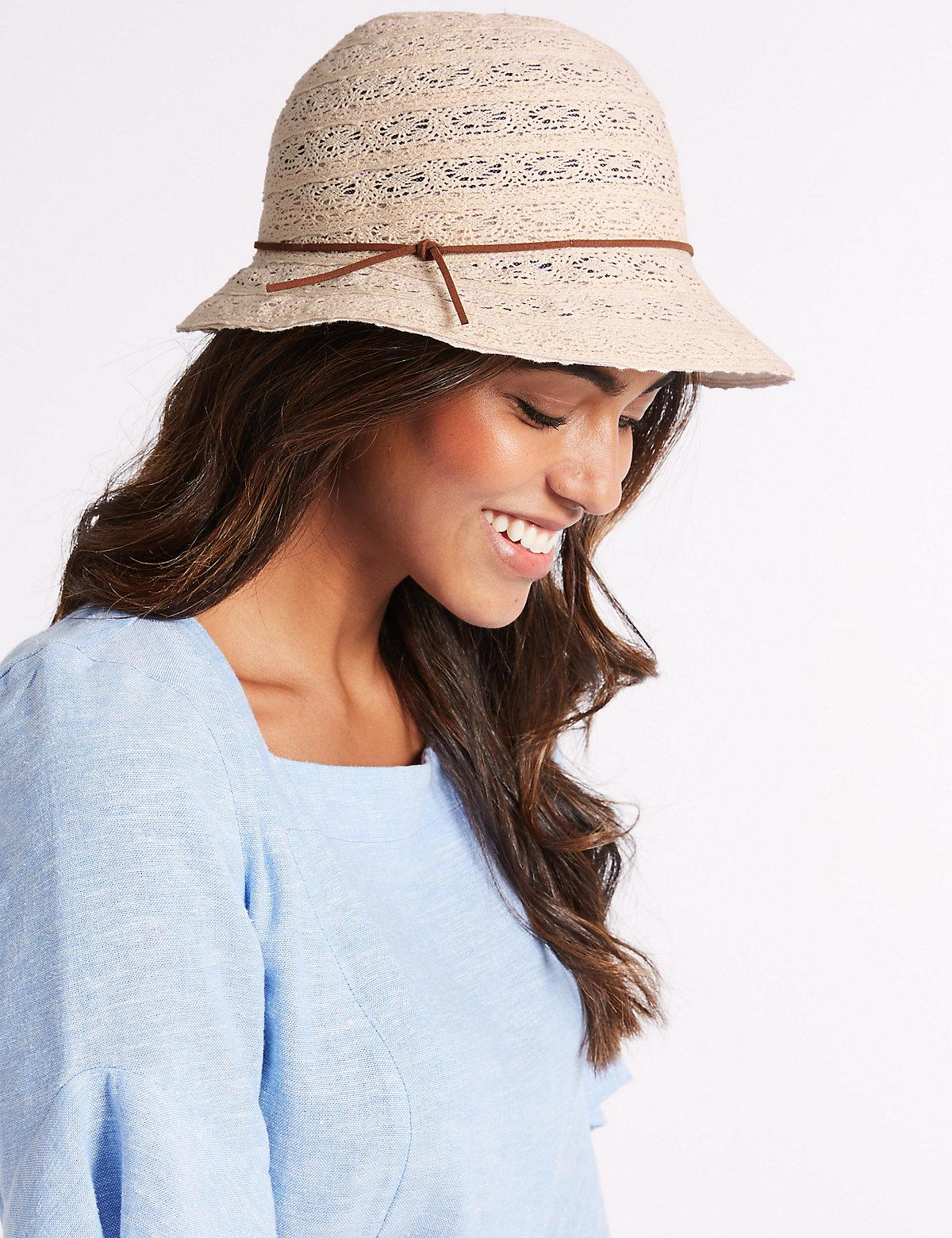 49c5d77a Marks & Spencer Cotton Blend Cloche Sun Hat in Natural - Lyst