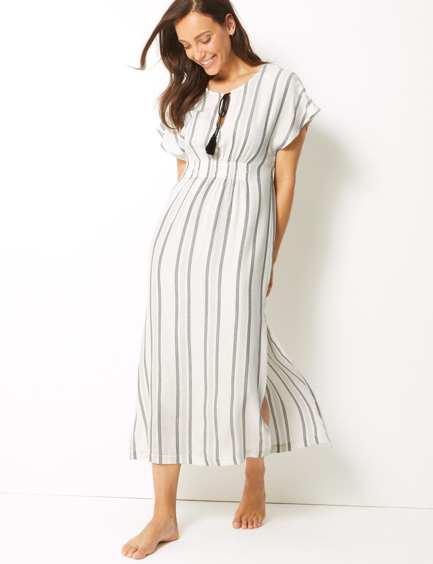 8252fe3236c Marks   Spencer Striped Kaftan Beach Dress in White - Lyst