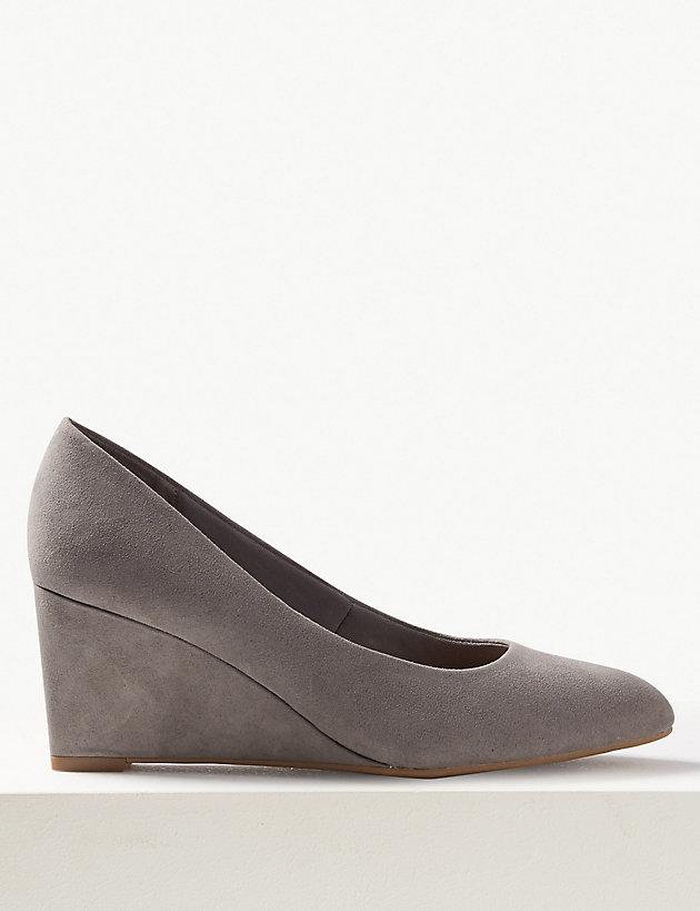 6f9d66dbdd0 Lyst - Marks & Spencer Wedge Heel Court Shoes in Gray