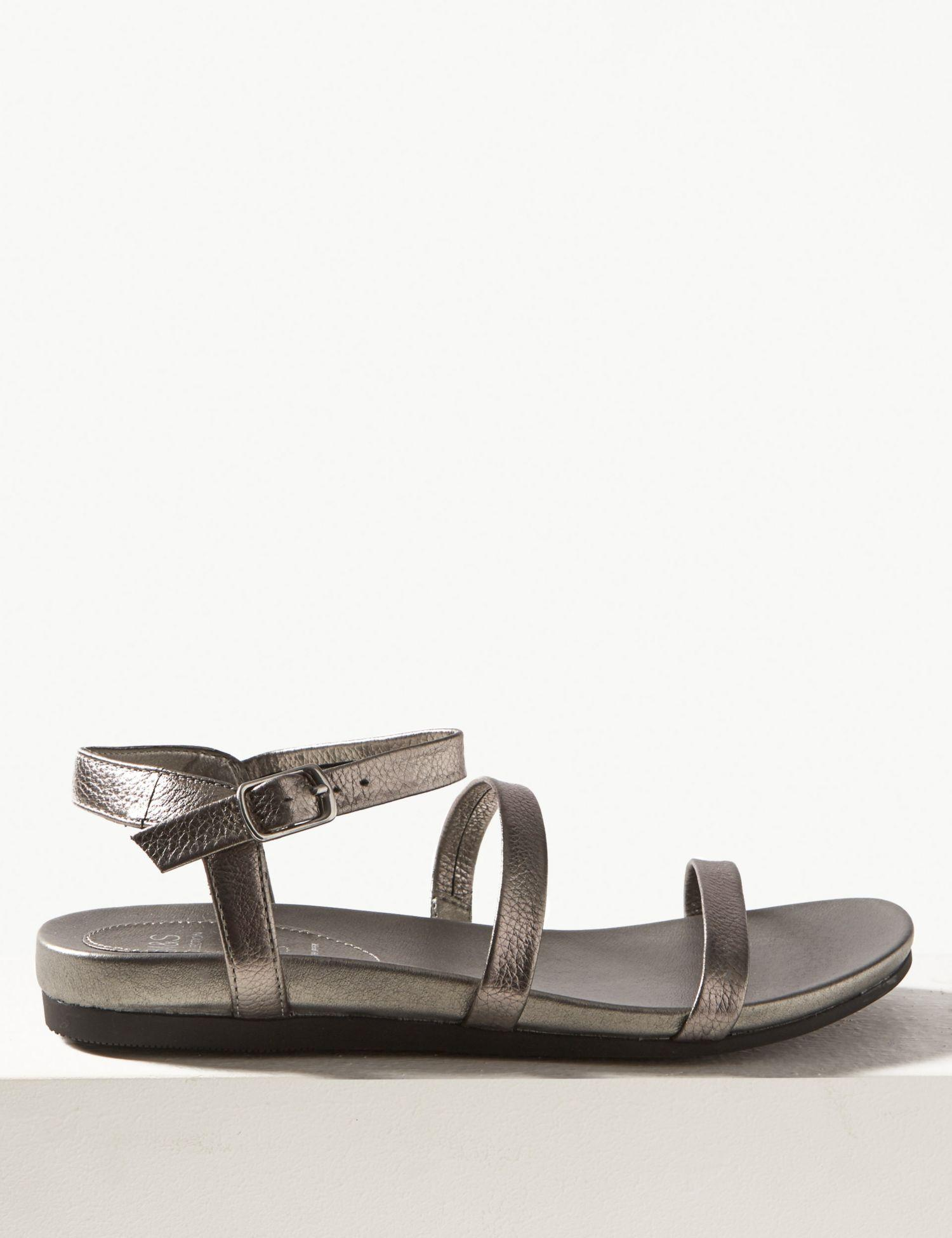 27c75f8e7d8 Marks   Spencer Wide Fit Leather Ankle Strap Sandals in Metallic - Lyst