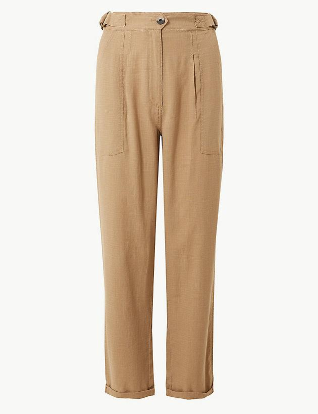 96078edaa9 Lyst - Marks   Spencer Linen Blend Ankle Grazer Peg Trousers in Natural