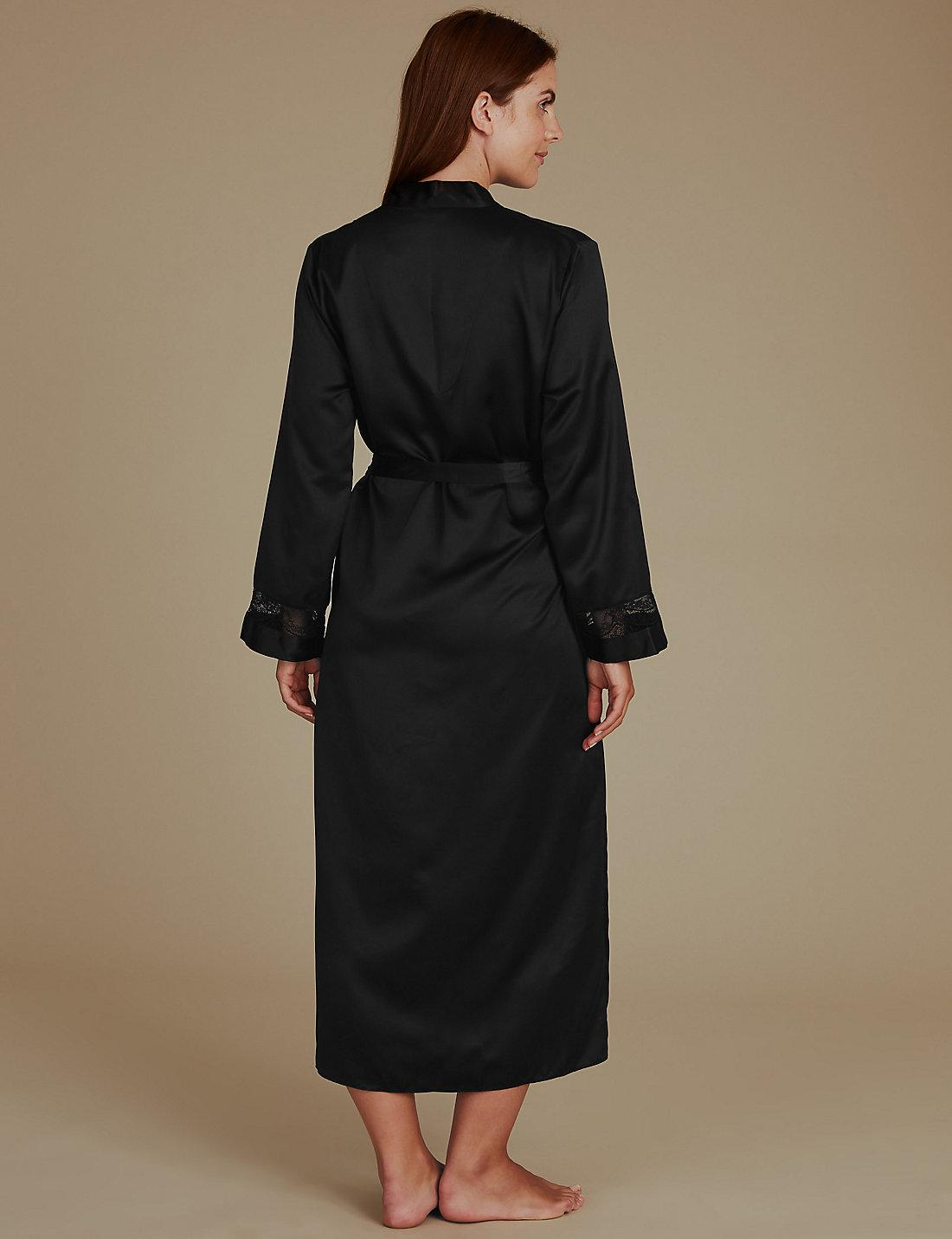 Lyst - Marks & Spencer Long Satin Wrap Dressing Gown With Belt in Black