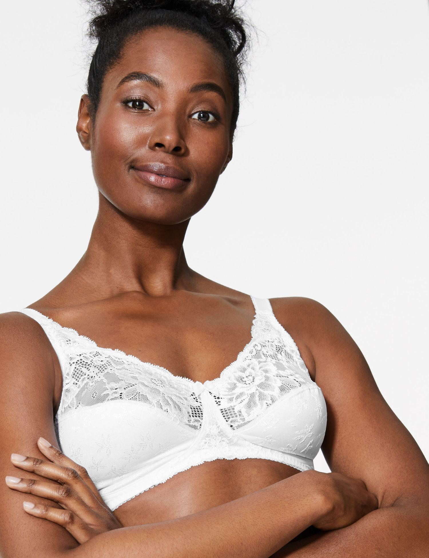 f3ffff91b24f3 Marks & Spencer - White Floral Jacquard Lace Non-wired Full Cup Bra Aa-.  View fullscreen