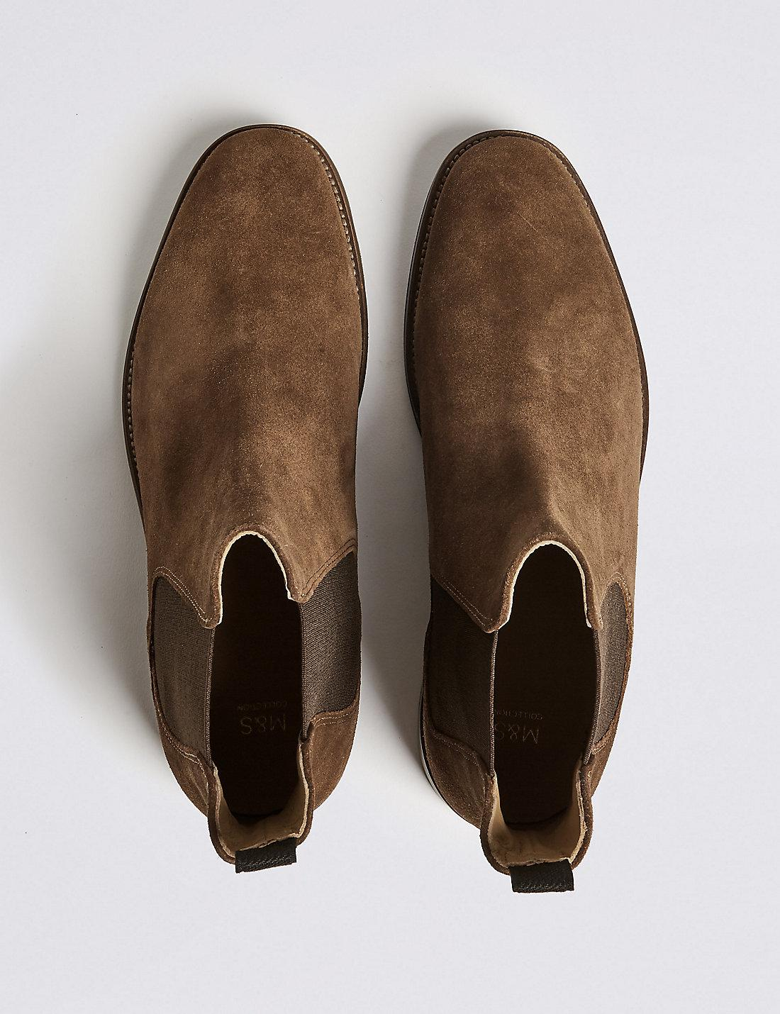 good out x 2018 shoes fantastic savings Marks & Spencer Suede Chelsea Boots in Brown for Men - Lyst